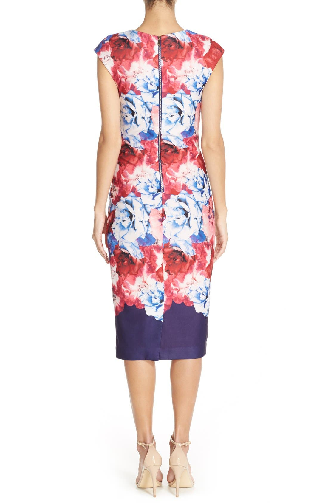 Alternate Image 2  - Vince Camuto Floral Print Stretch Midi Dress (Regular & Petite)