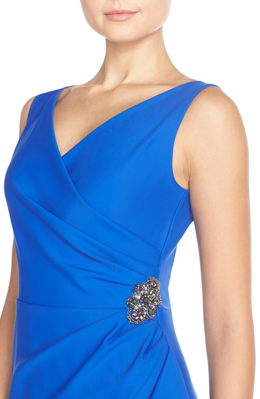 Side Ruched Dress,                             Alternate thumbnail 4, color,                             Royal