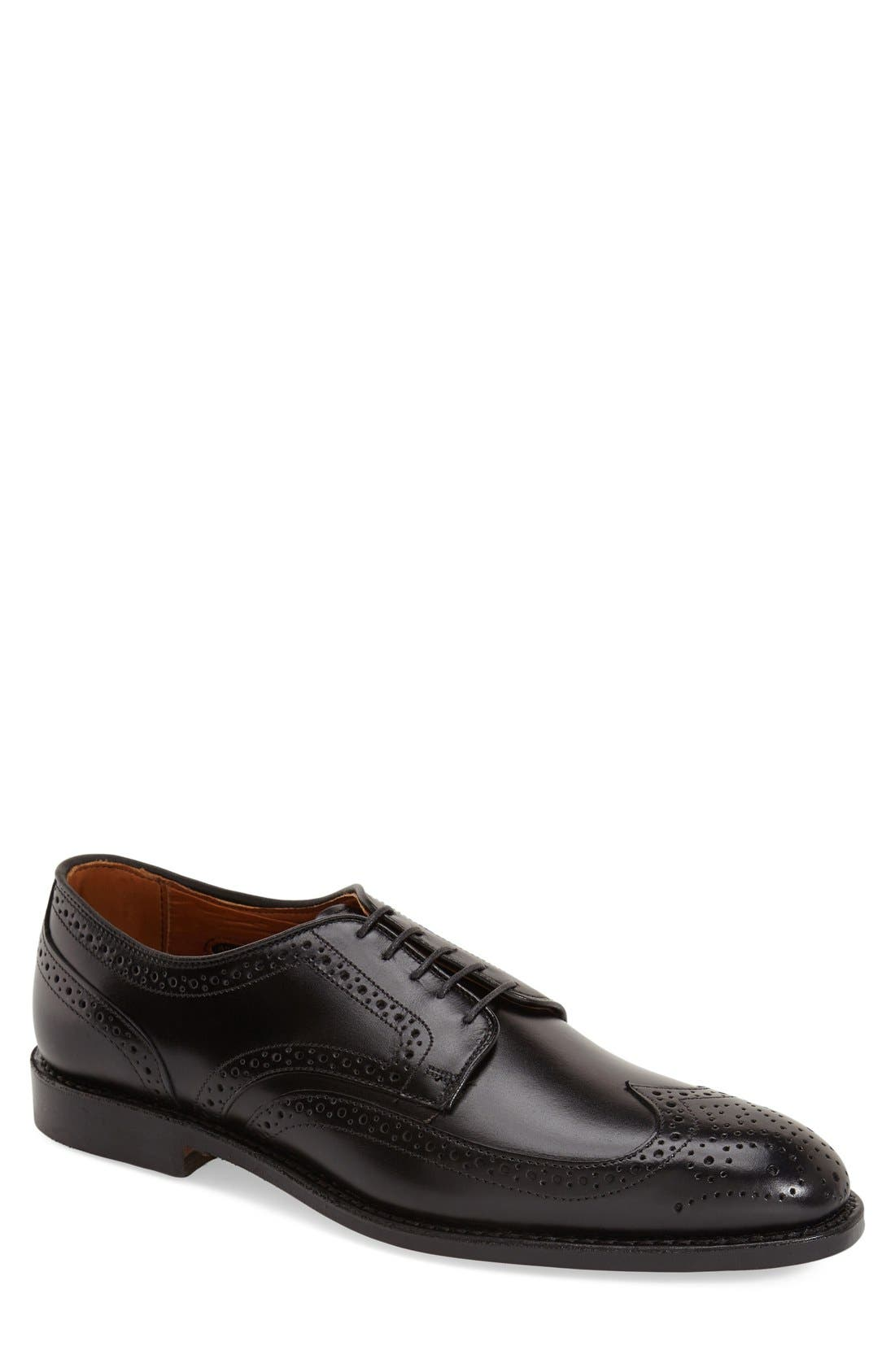 'Madison Park' Wingtip,                             Main thumbnail 1, color,                             Black Leather