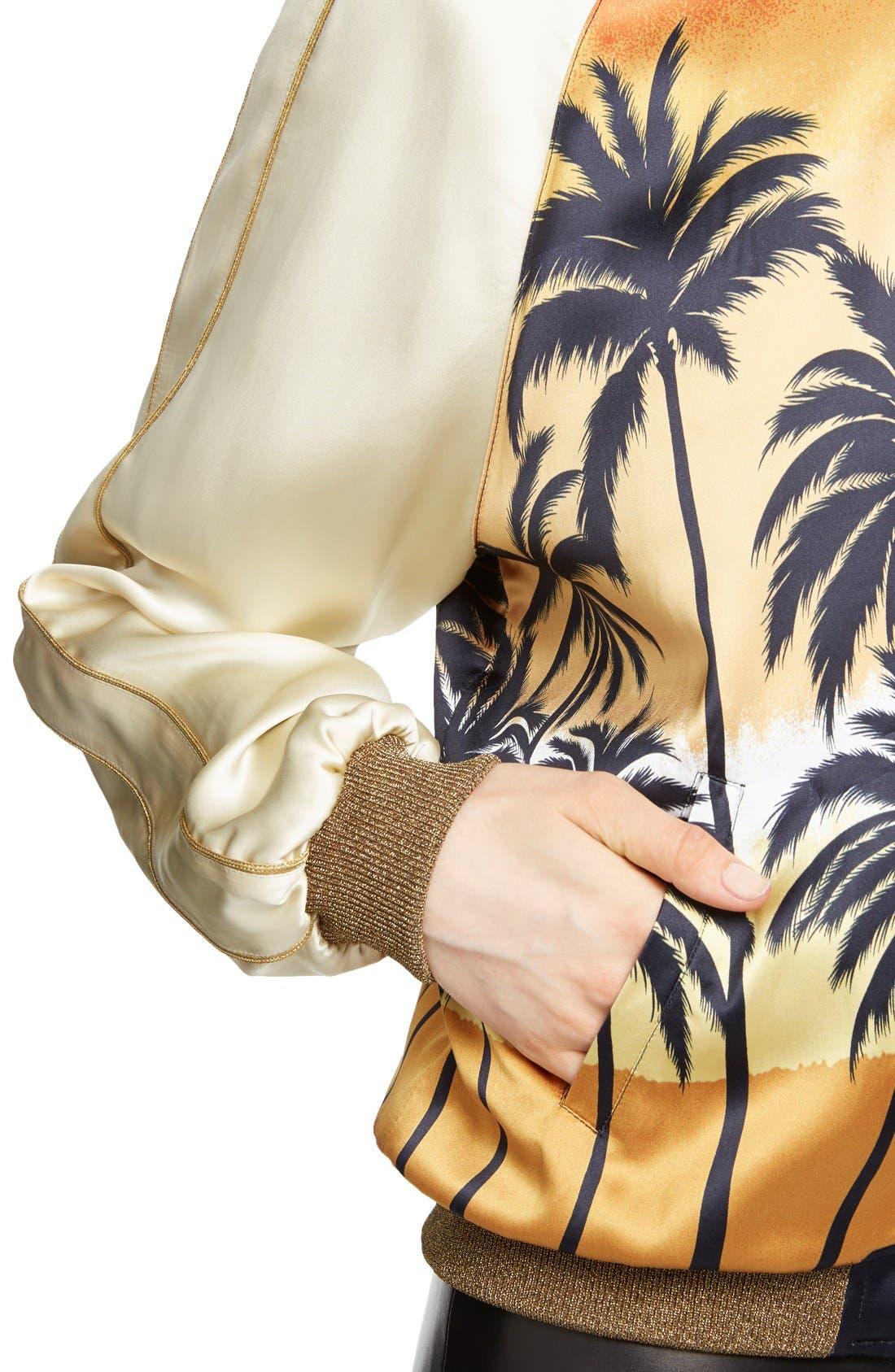 Alternate Image 5  - Saint Laurent Palm Print Raglan Bomber Jacket