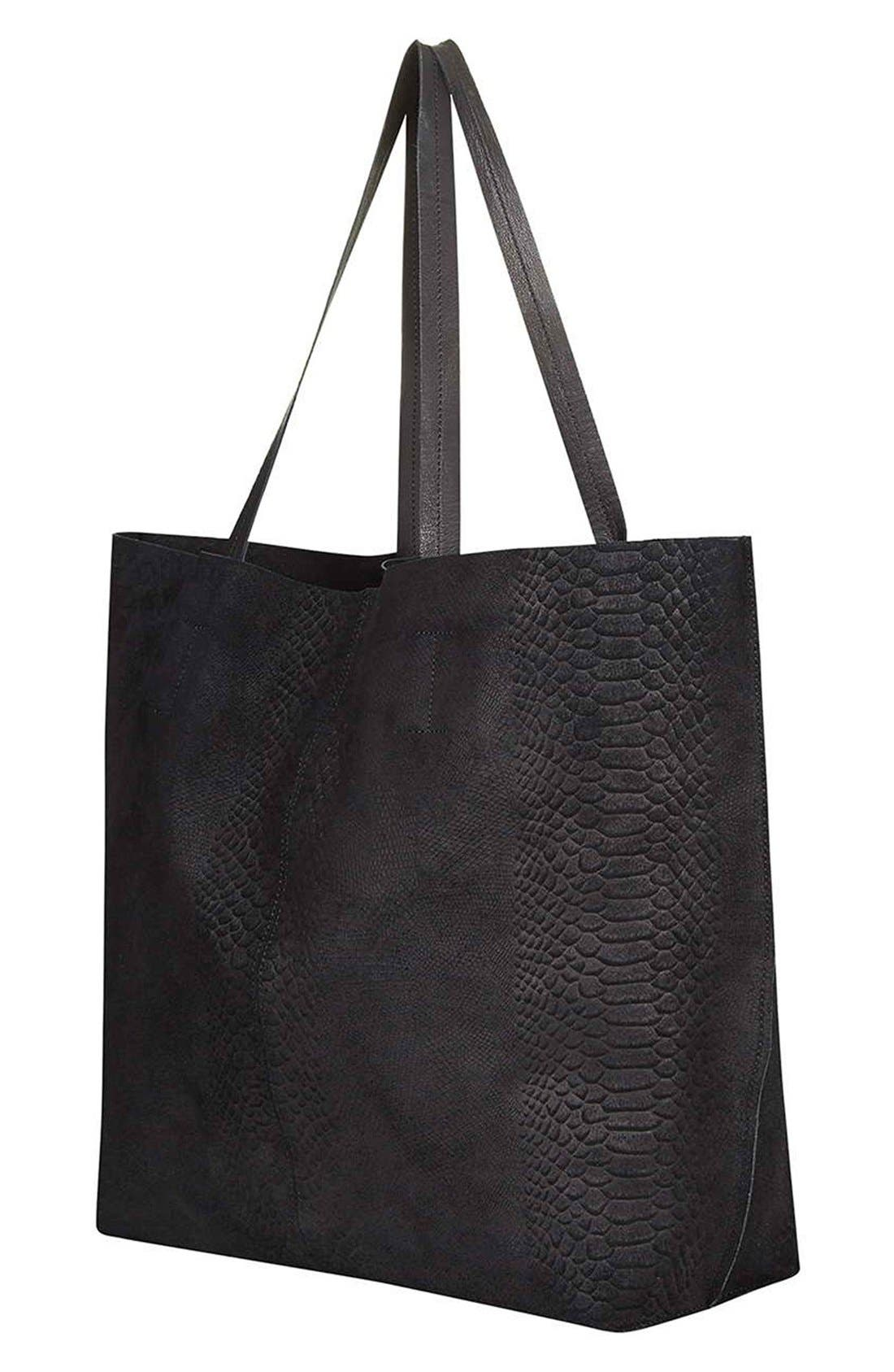 Embossed Suede Shopper,                             Alternate thumbnail 2, color,                             Black