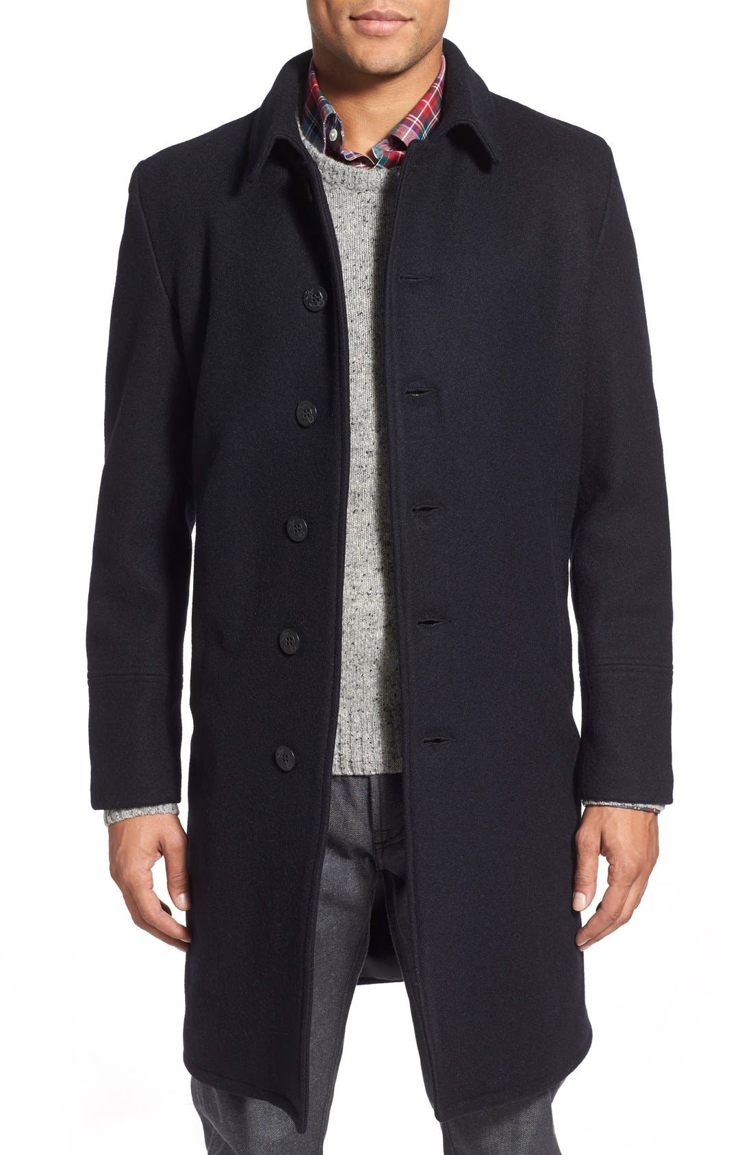 Wool Blend Officer's Coat,                             Main thumbnail 1, color,                             New Navy