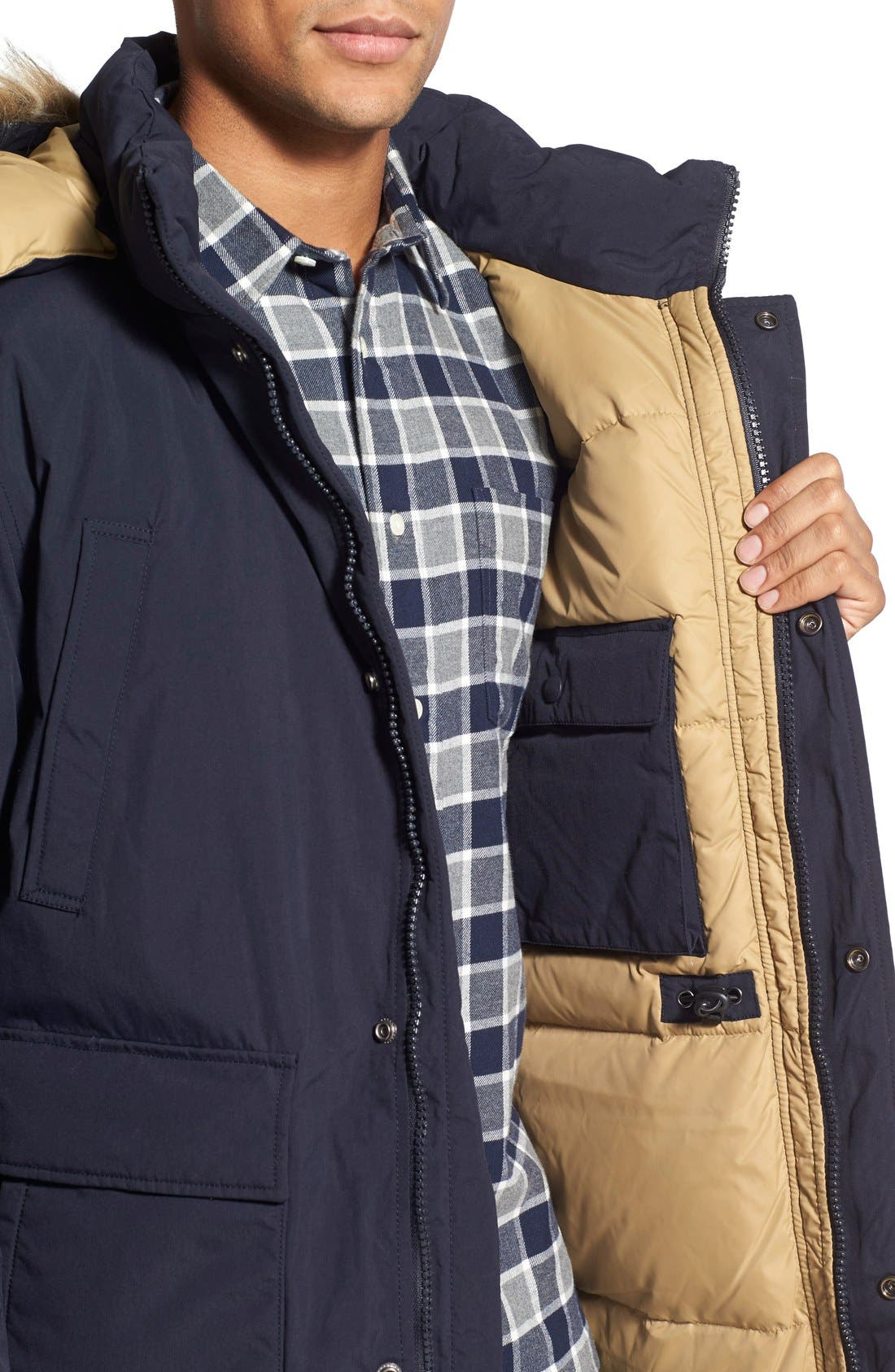 'Iceberg' Water Resistant Down Parka with Faux Fur Trim,                             Alternate thumbnail 4, color,                             Navy