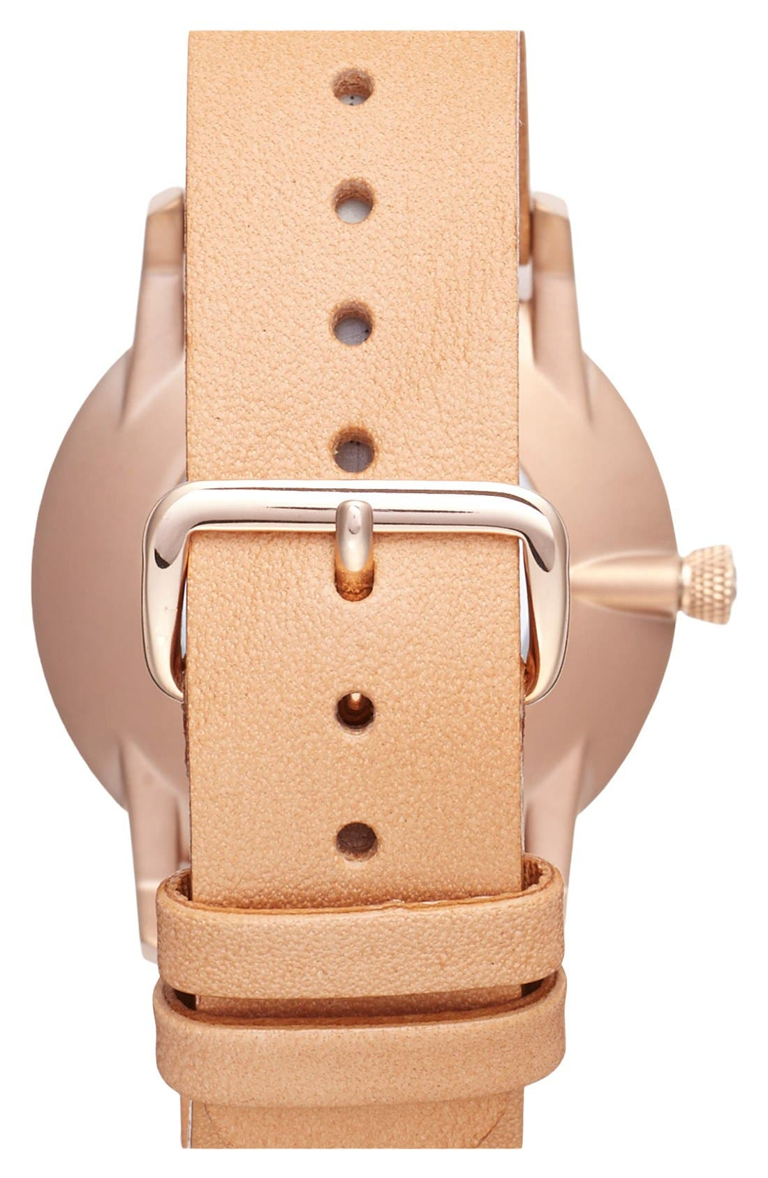 Rose Falken Organic Leather Strap Watch, 38mm,                             Alternate thumbnail 4, color,                             Brown/ Gold/ White