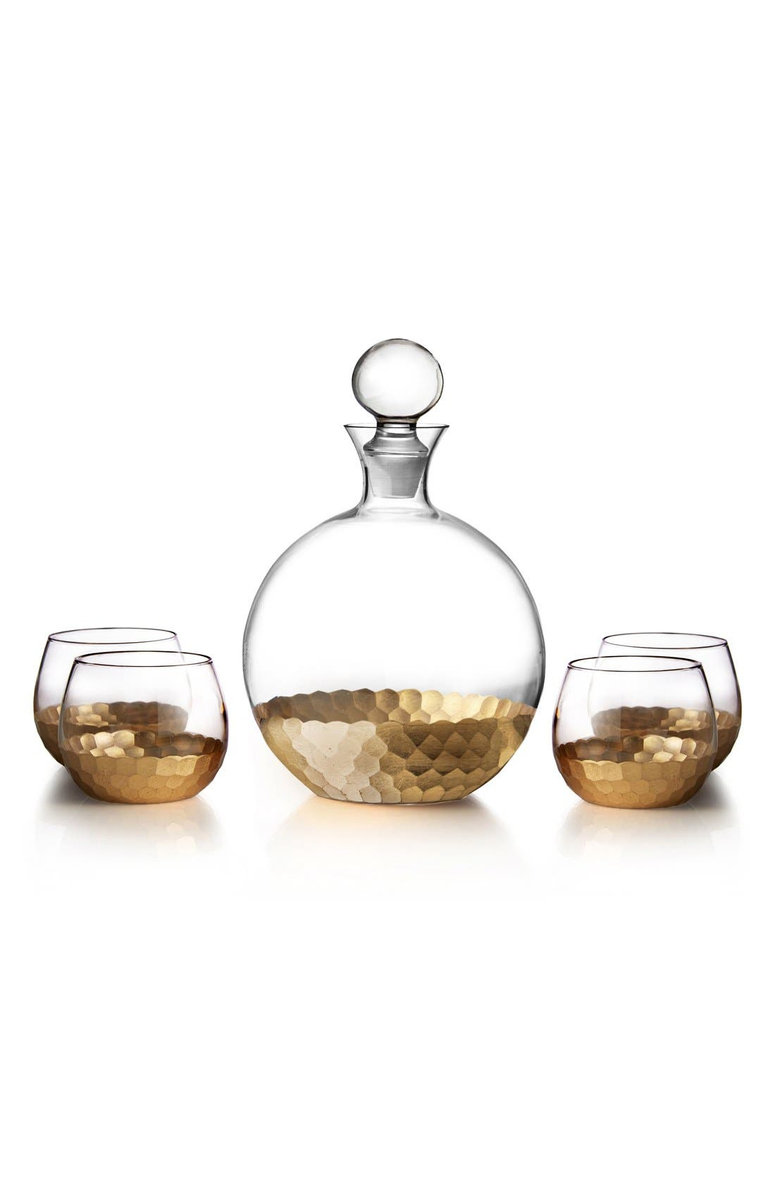 'Daphne' Decanter & Whiskey Glasses,                         Main,                         color, Gold