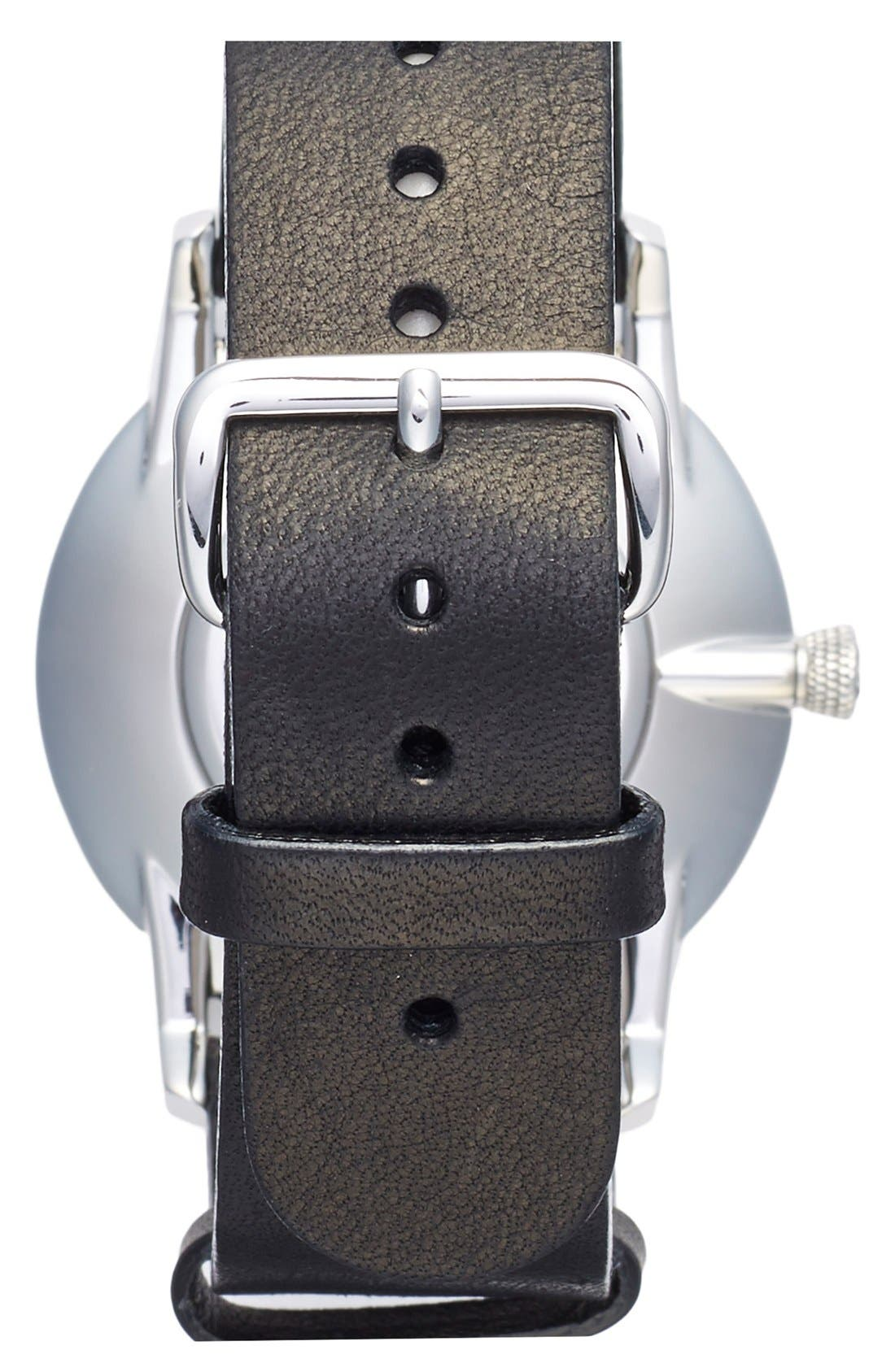 Ivory Falken Organic Leather Strap Watch, 38mm,                             Alternate thumbnail 4, color,                             Black/ Silver/ White