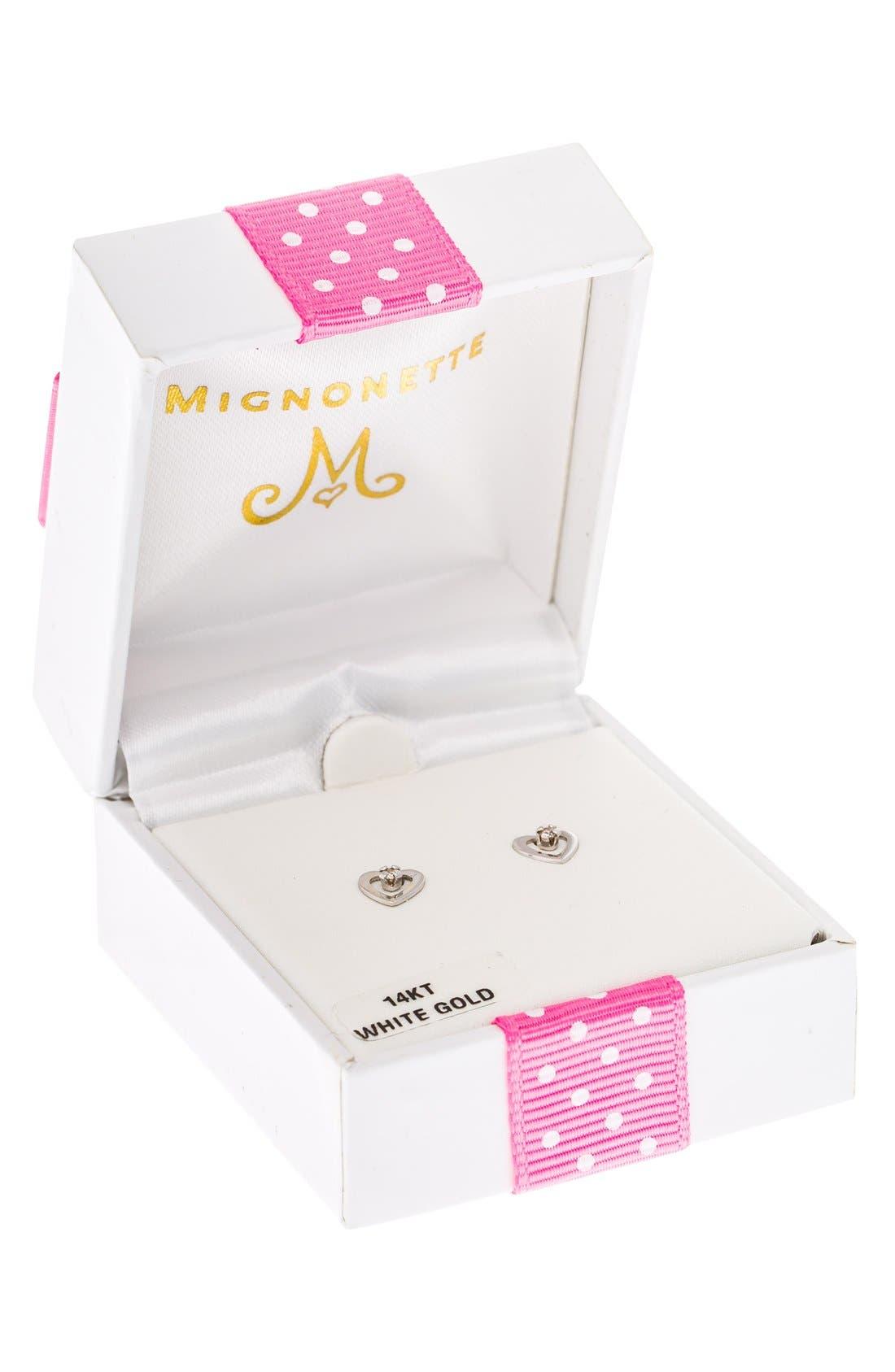 Alternate Image 3  - Mignonette 14k White Gold & Diamond Heart Earrings (Baby Girls)
