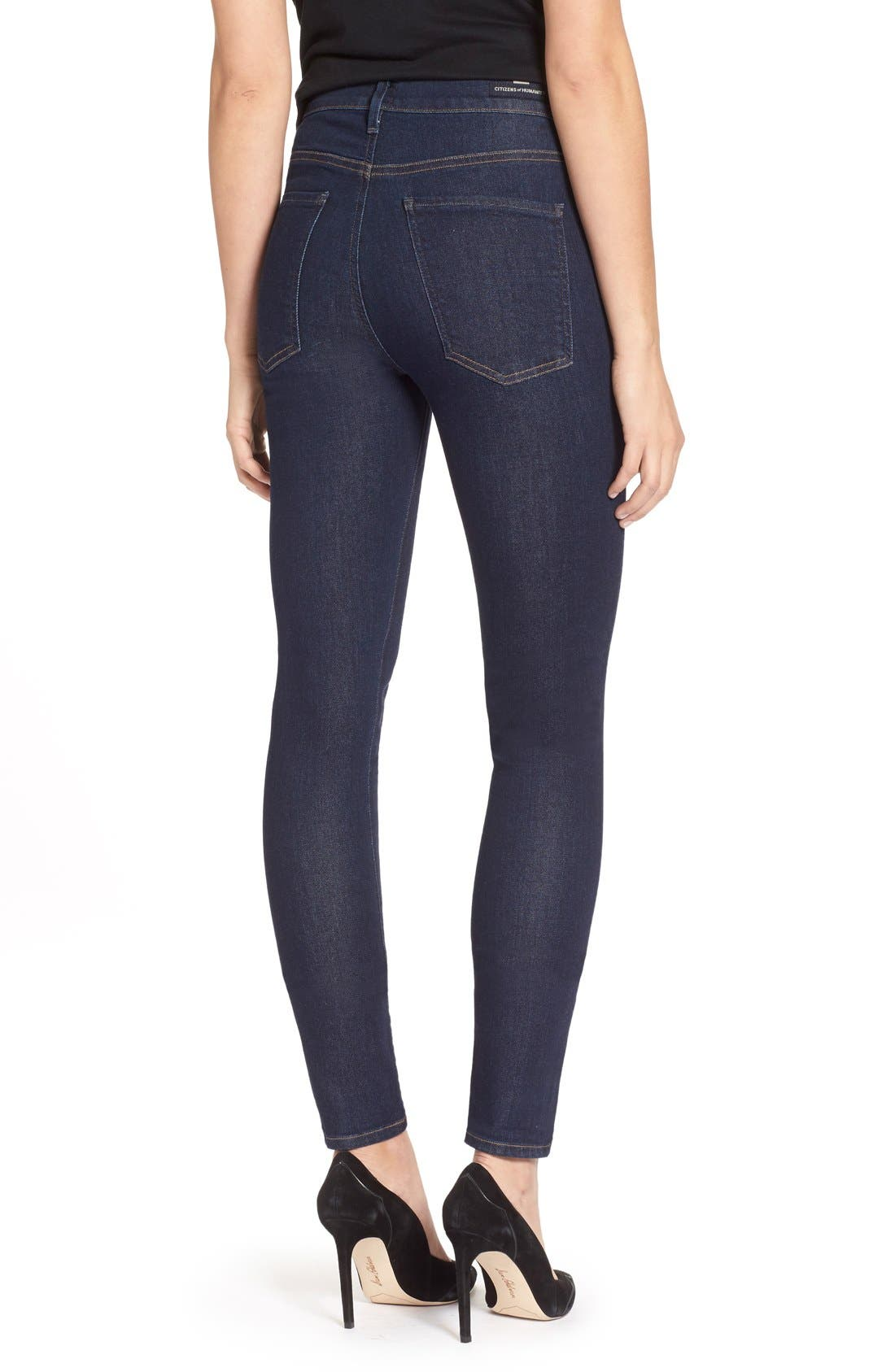 Alternate Image 2  - Citizens of Humanity 'Carlie' High Rise Skinny Jeans (Clean Blue)