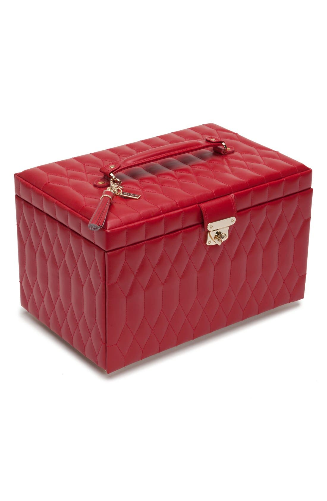 'Caroline' Jewelry Case,                         Main,                         color, Red