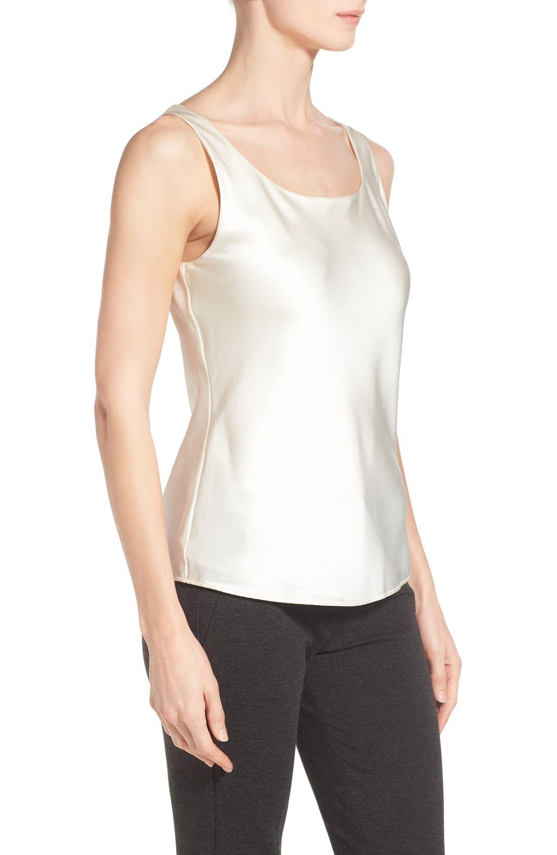 Silk Charmeuse Tank,                             Alternate thumbnail 4, color,                             Cloud