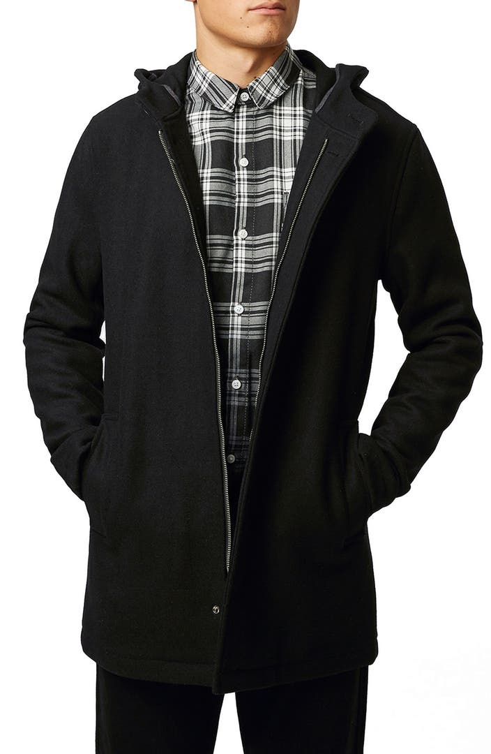 Topman Black Wool Blend Zip Mac Jacket | Nordstrom