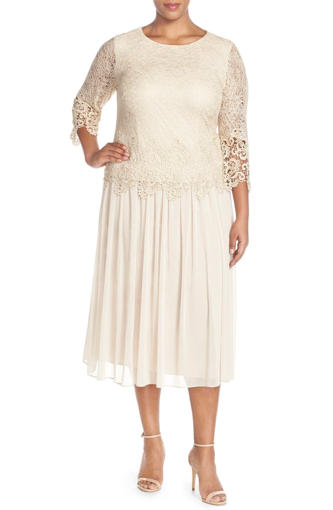 ALEX EVENINGS Lace & Chiffon Tea Length Dress