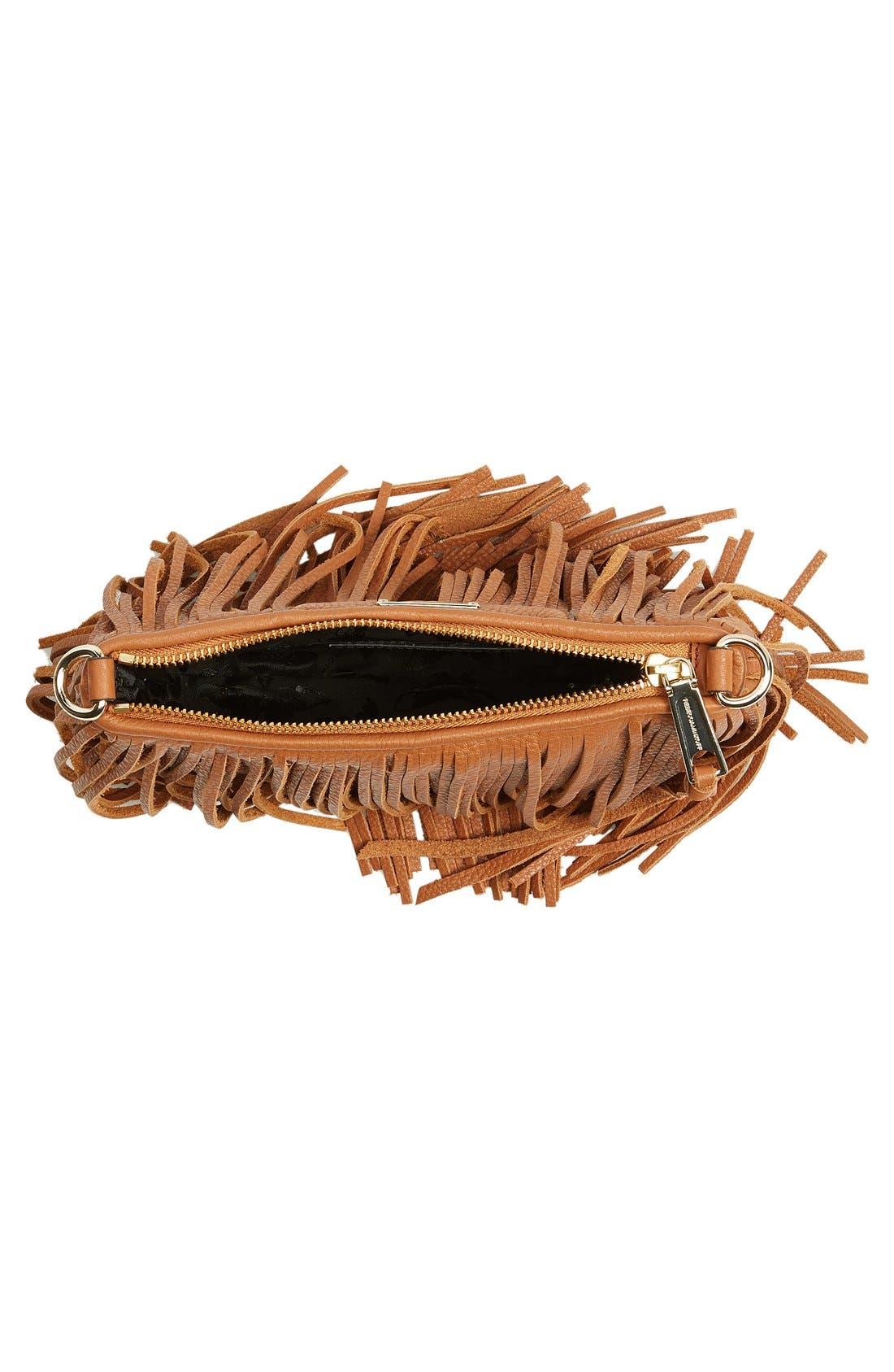 'Finn' Convertible Leather Clutch,                             Alternate thumbnail 5, color,                             Almond