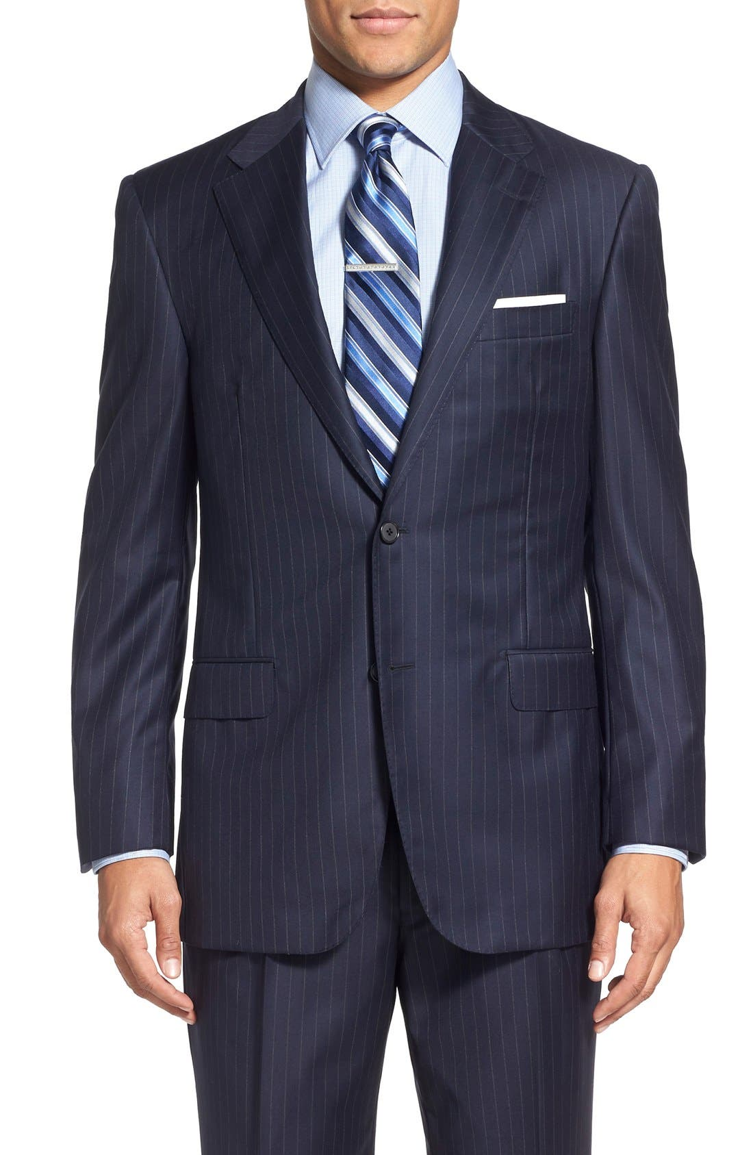 Alternate Image 5  - Hickey Freeman 'Beacon - B Series' Classic Fit Stripe Wool Suit