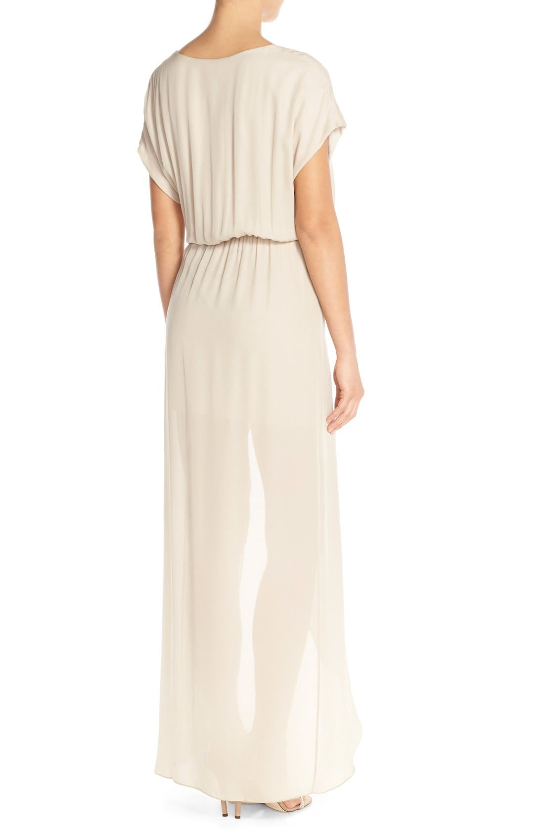 'Plaza' Faux Wrap Silk Georgette Cutaway Gown,                             Alternate thumbnail 2, color,                             Nude