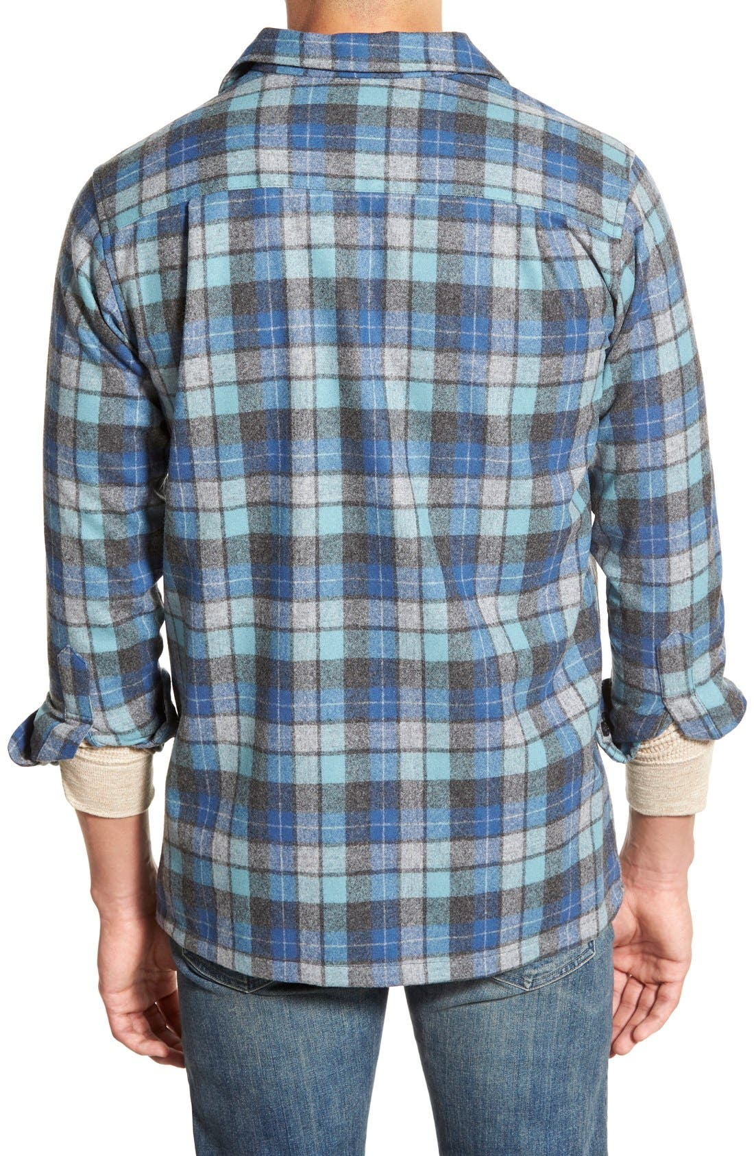 'Board' Regular Fit Flannel Shirt,                             Alternate thumbnail 2, color,                             Blue Original Surf Plaid