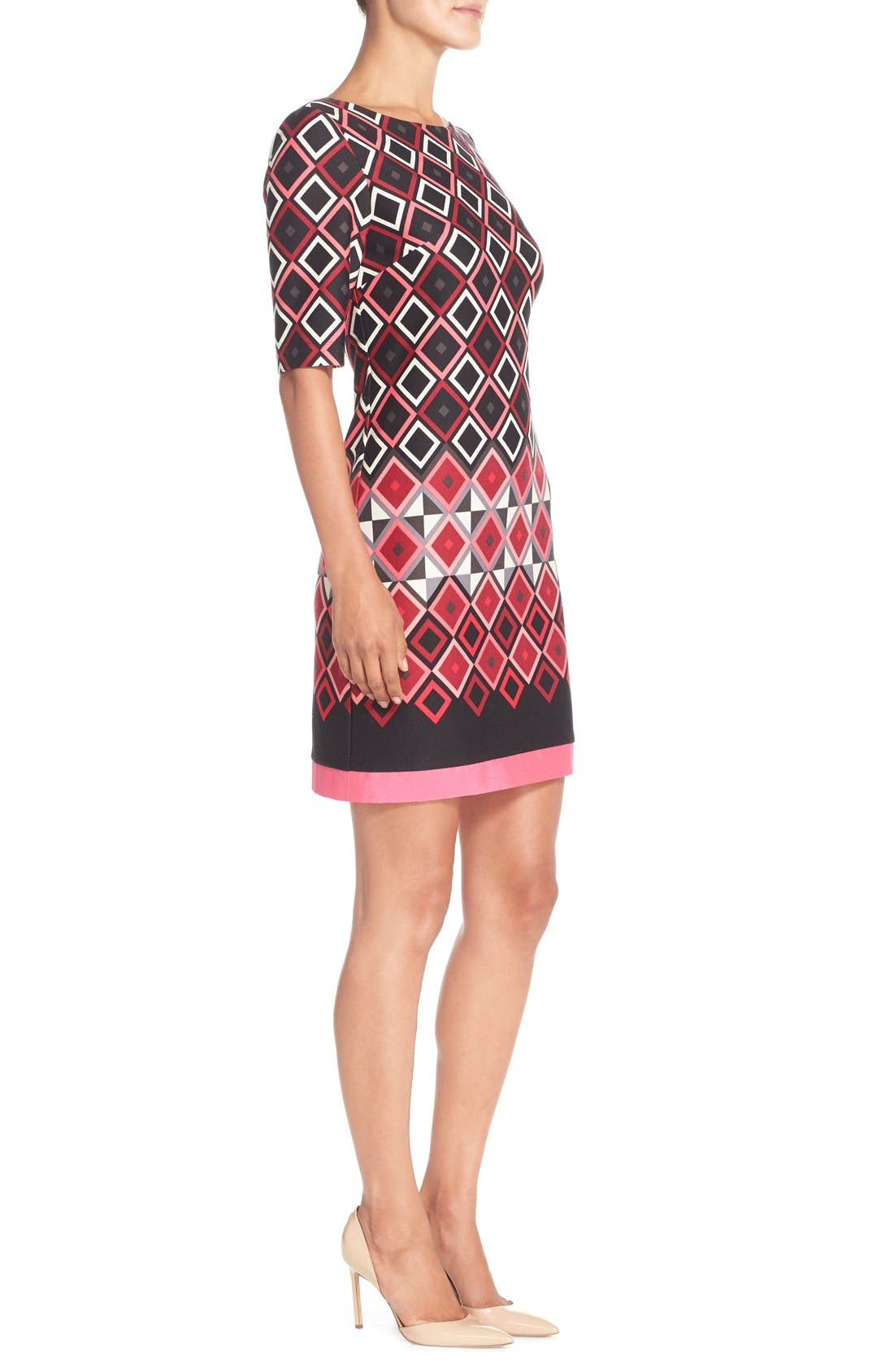 Alternate Image 3  - Eliza J Print Ponte Shift Dress (Regular & Petite)