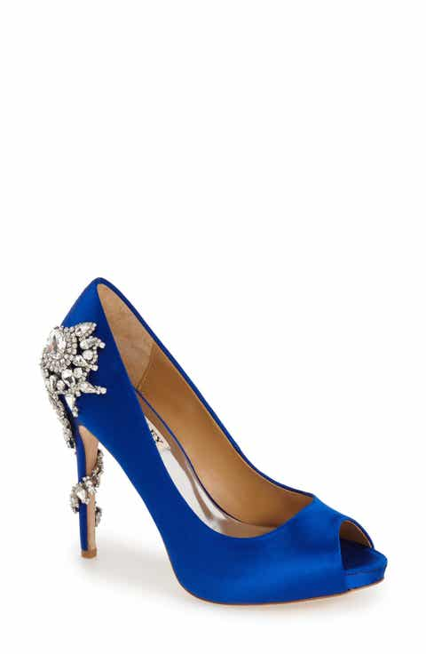 Badgley Mischka Royal Crystal Embellished Peeptoe Pump