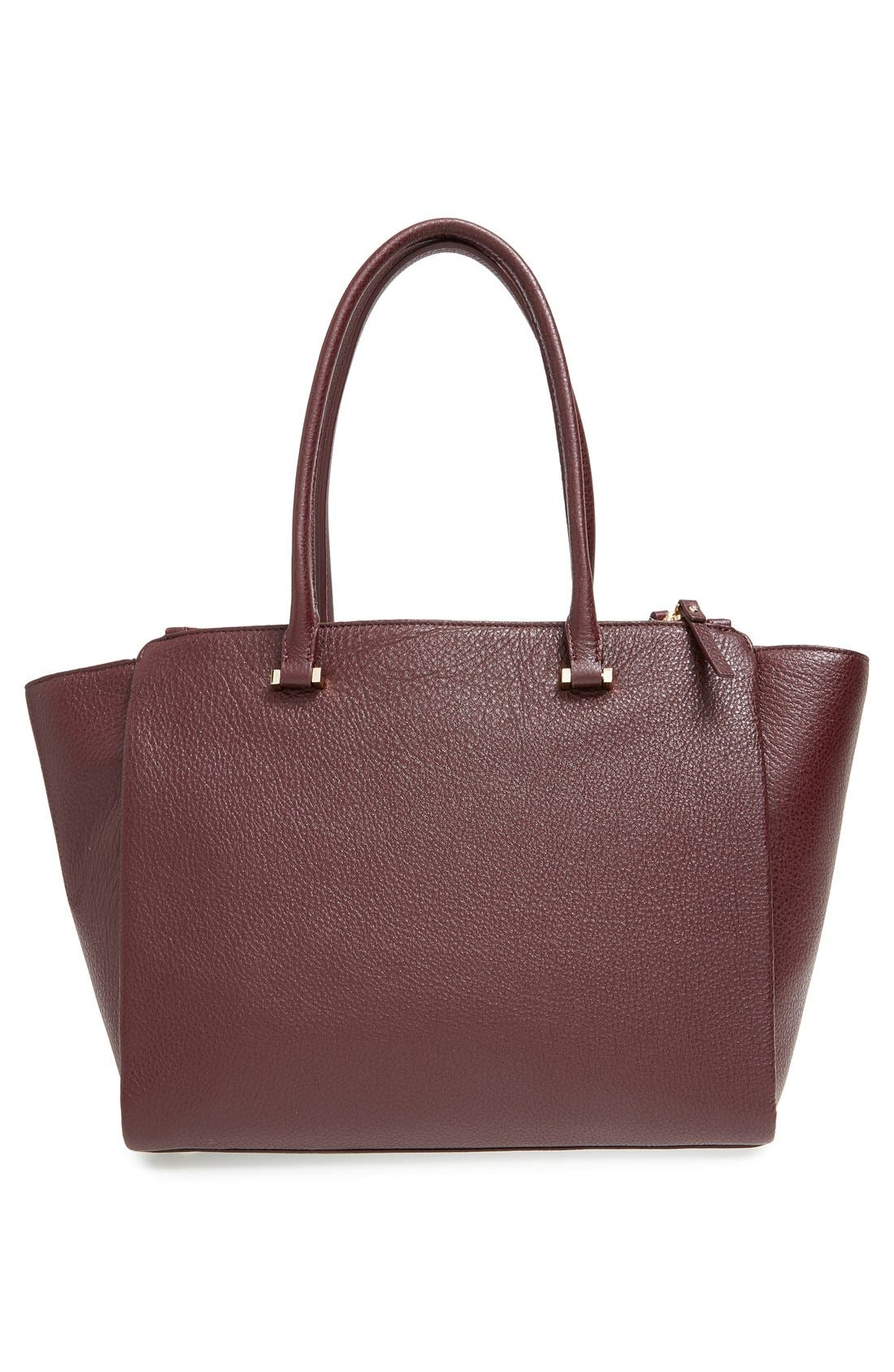 'emerson place - smooth holland' leather tote,                             Alternate thumbnail 3, color,                             Mulled Wine