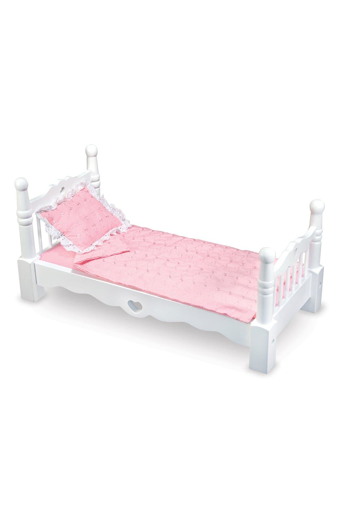 Wooden Doll Bed,                         Main,                         color, White