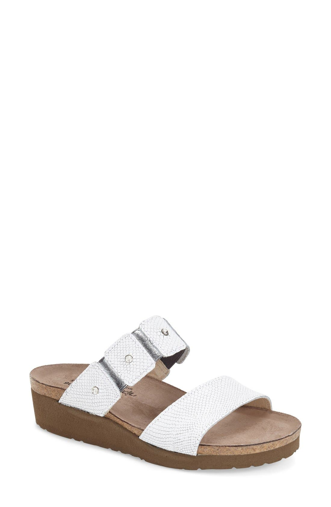 'Ashley' Sandal,                         Main,                         color, White Snake Leather