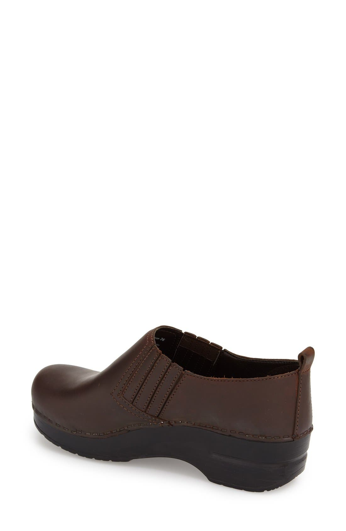 'Piet' Clog,                             Alternate thumbnail 2, color,                             Antique Brown Oiled Leather