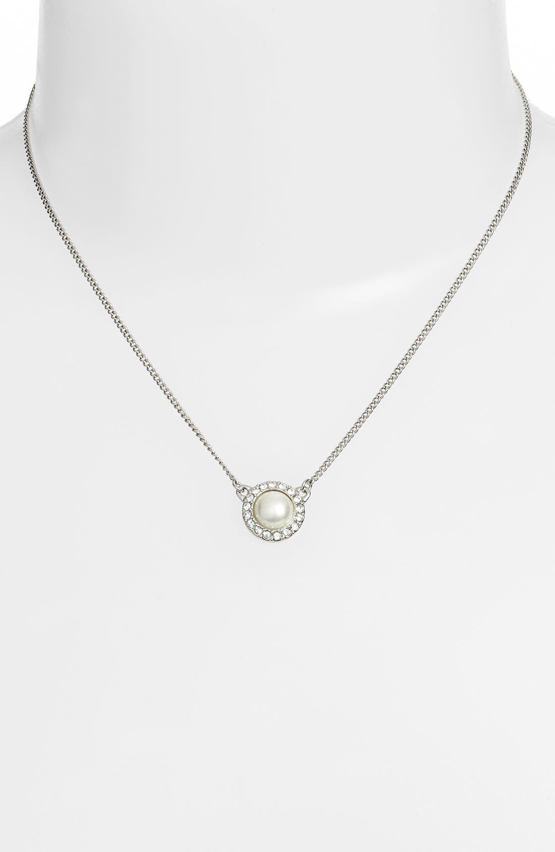 Imitation Pearl Pendant Necklace,                             Alternate thumbnail 2, color,                             Silver/ White
