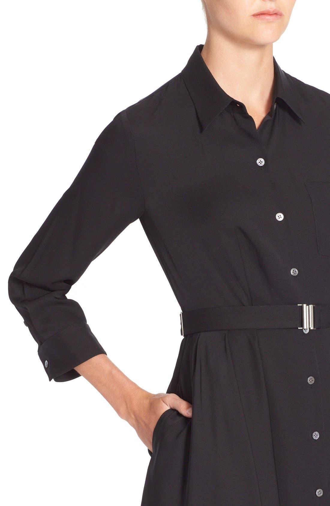 'Jaylis' Silk Shirtdress,                             Alternate thumbnail 4, color,                             Black