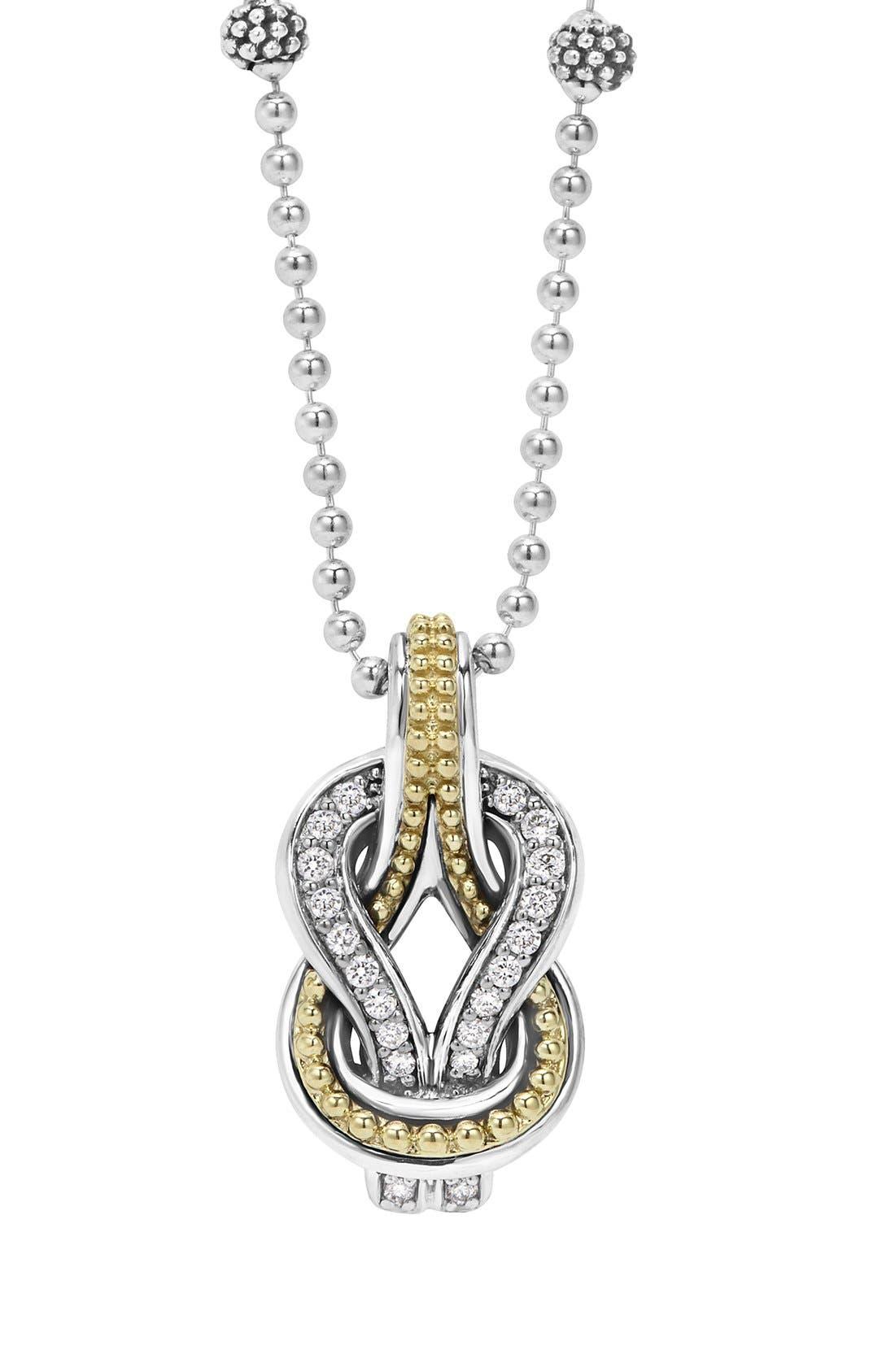 'Newport' Diamond Knot Pendant Necklace,                         Main,                         color, Silver/ Gold