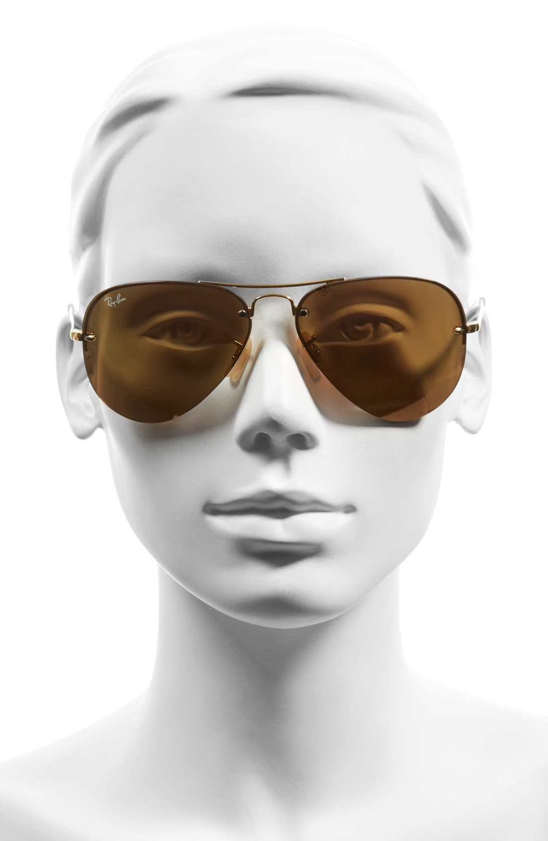 Highstreet 59mm Semi Rimless Aviator Sunglasses,                             Alternate thumbnail 2, color,                             Brown/ Pink