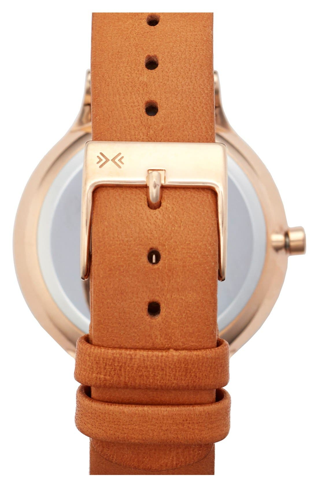 'Anita' Leather Strap Watch, 34mm,                             Alternate thumbnail 2, color,                             Brown/ Rose Gold/ White