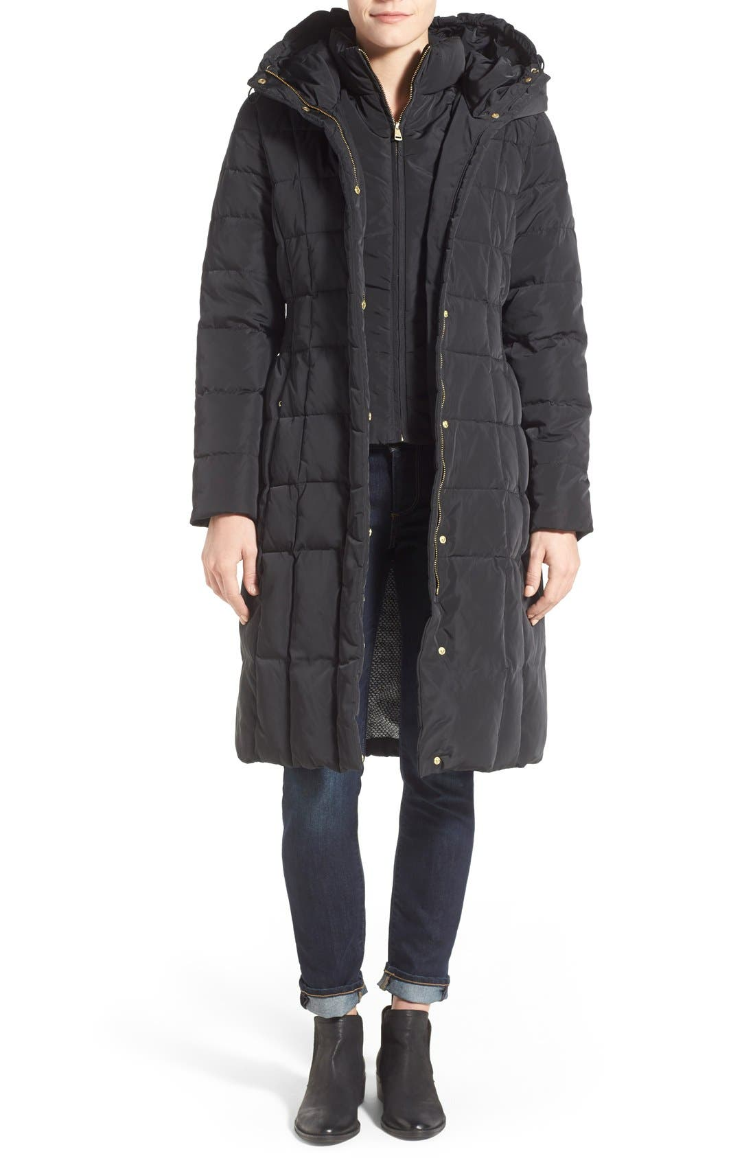 Cole Haan Bib Insert Down & Feather Fill Coat,                             Main thumbnail 1, color,                             Black