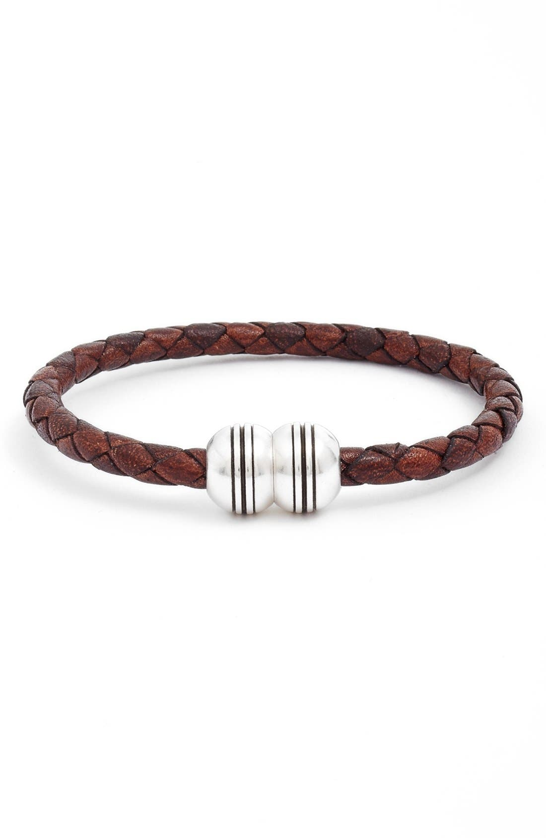 Braided Leather Bracelet,                         Main,                         color, Brown