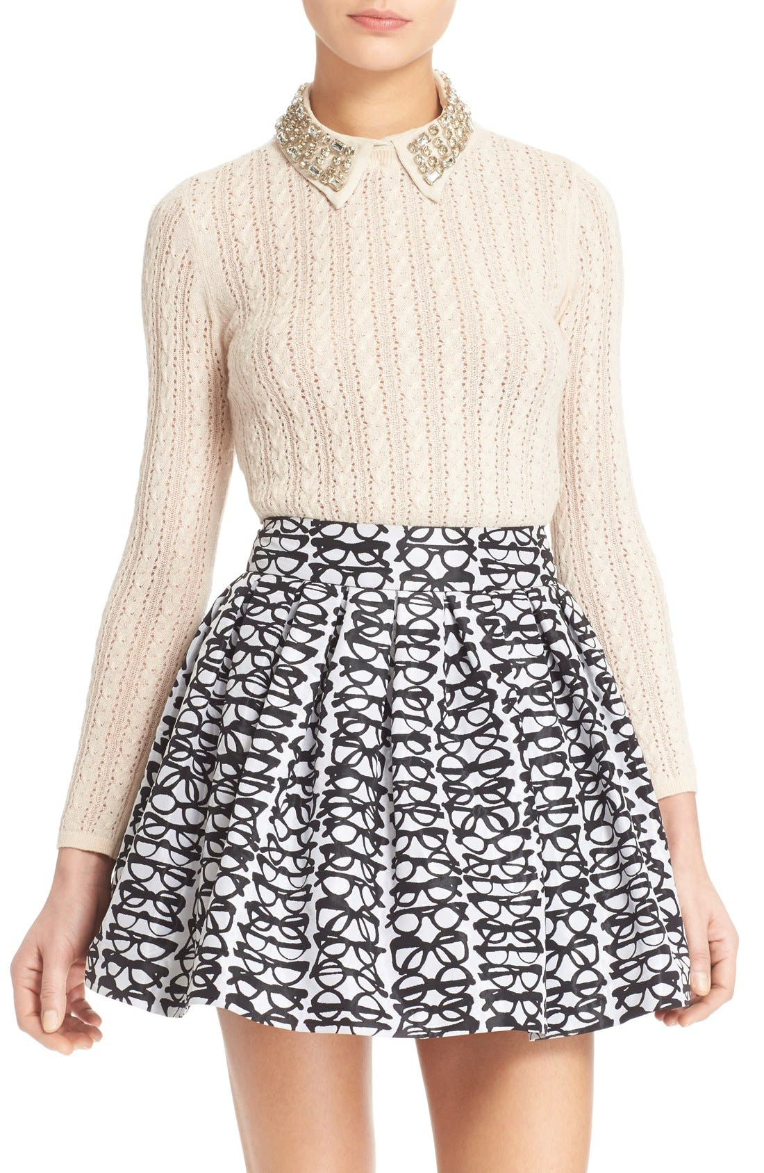 Main Image - Alice + Olivia 'Tamsin' Embellished Collar Pointelle Cable Sweater