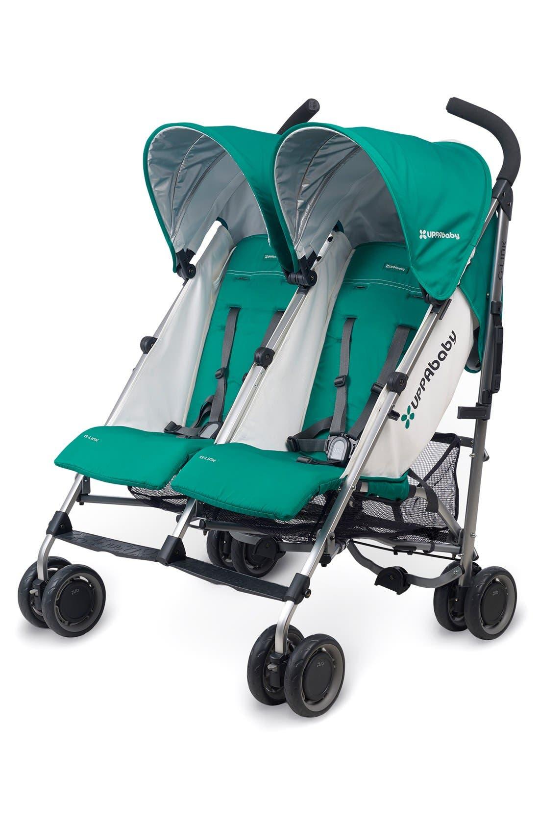 G-LINK Ella Aluminum Frame Reclining Side by Side Umbrella Stroller,                         Main,                         color, Jade
