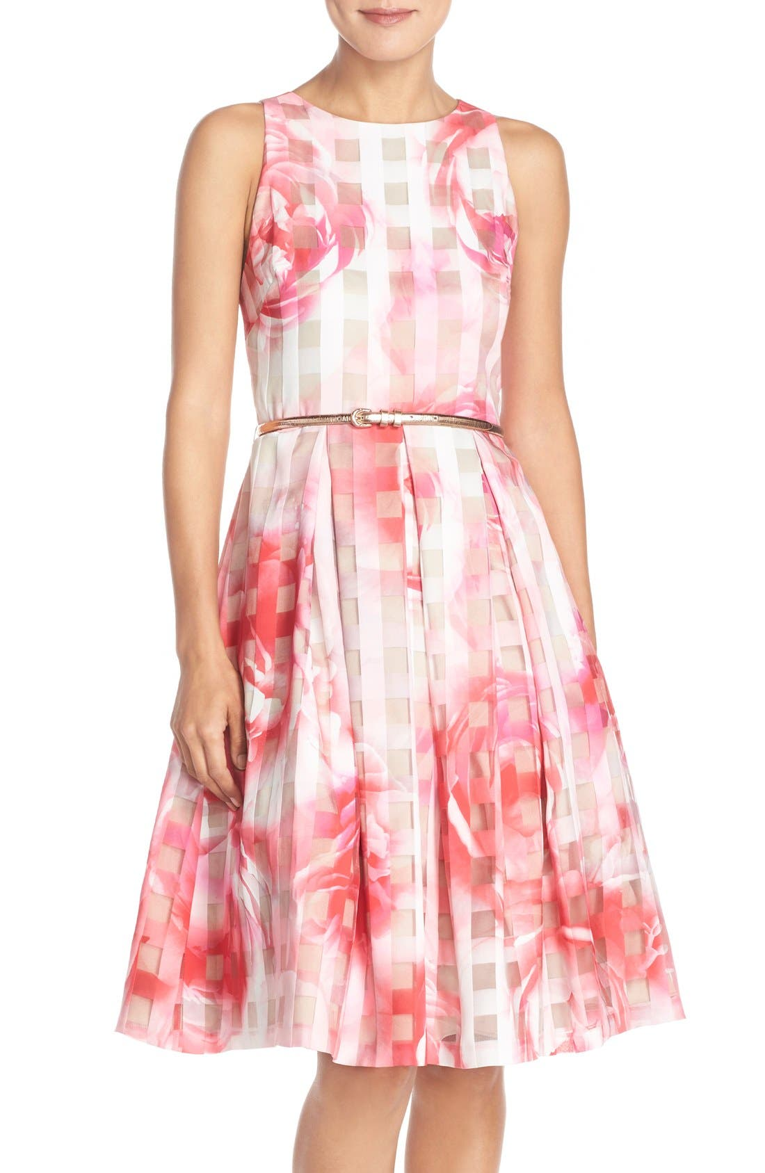 Floral Organza Fit & Flare Dress,                         Main,                         color, Pink Print