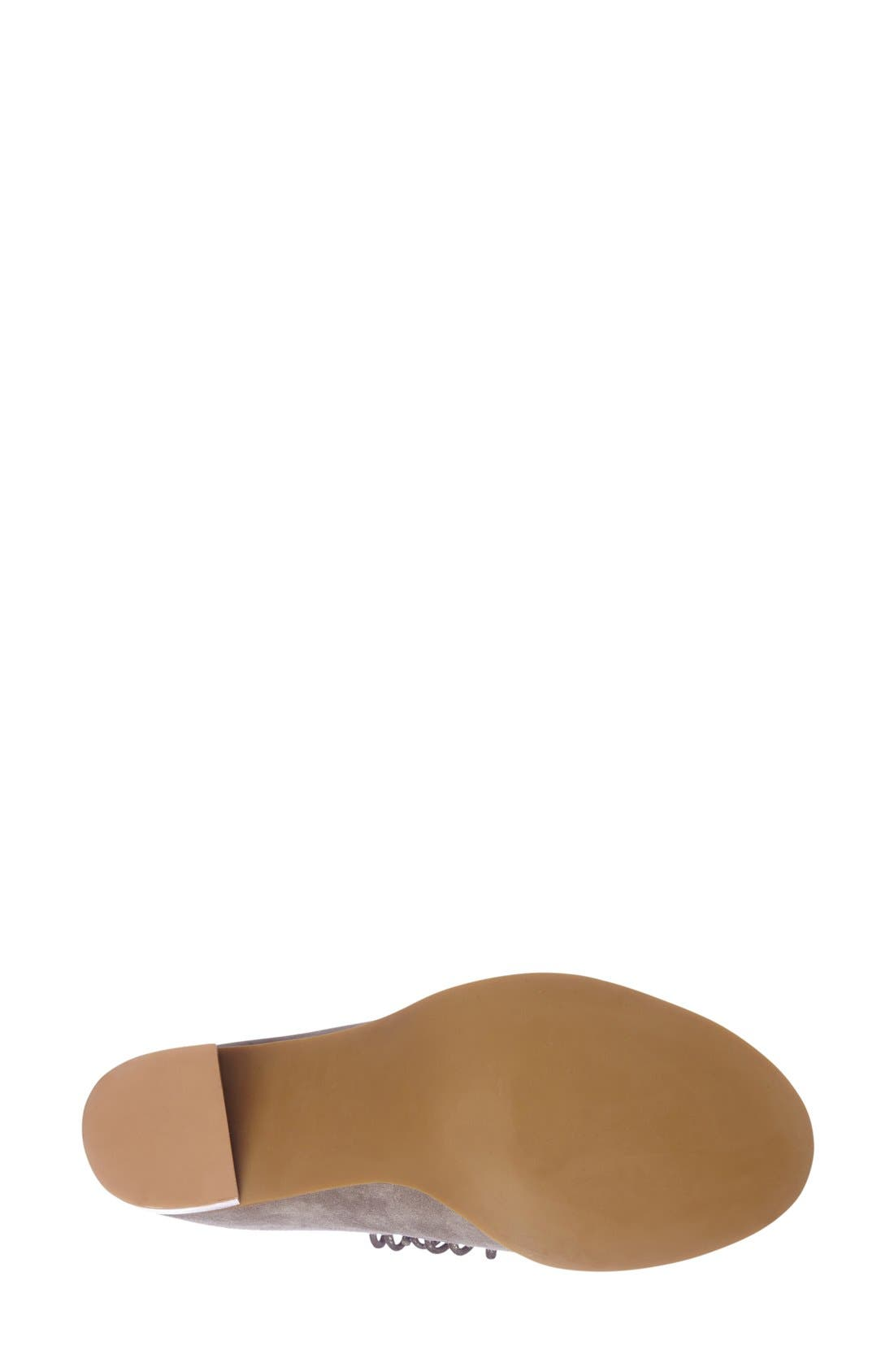 'Cors' Suede Peep Toe Bootie,                             Alternate thumbnail 4, color,                             Taupe Suede