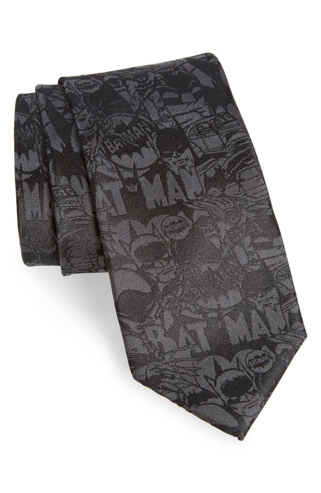 'Batman' Silk Tie,                         Main,                         color, Black
