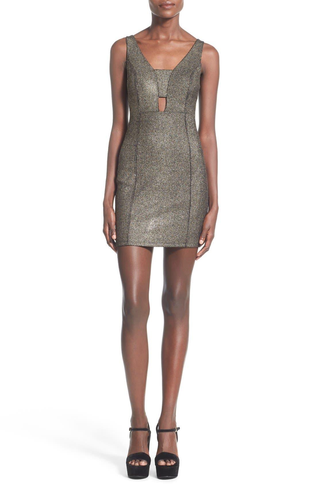 Alternate Image 1 Selected - Soprano Cutout Detail Metallic Body-Con Dress