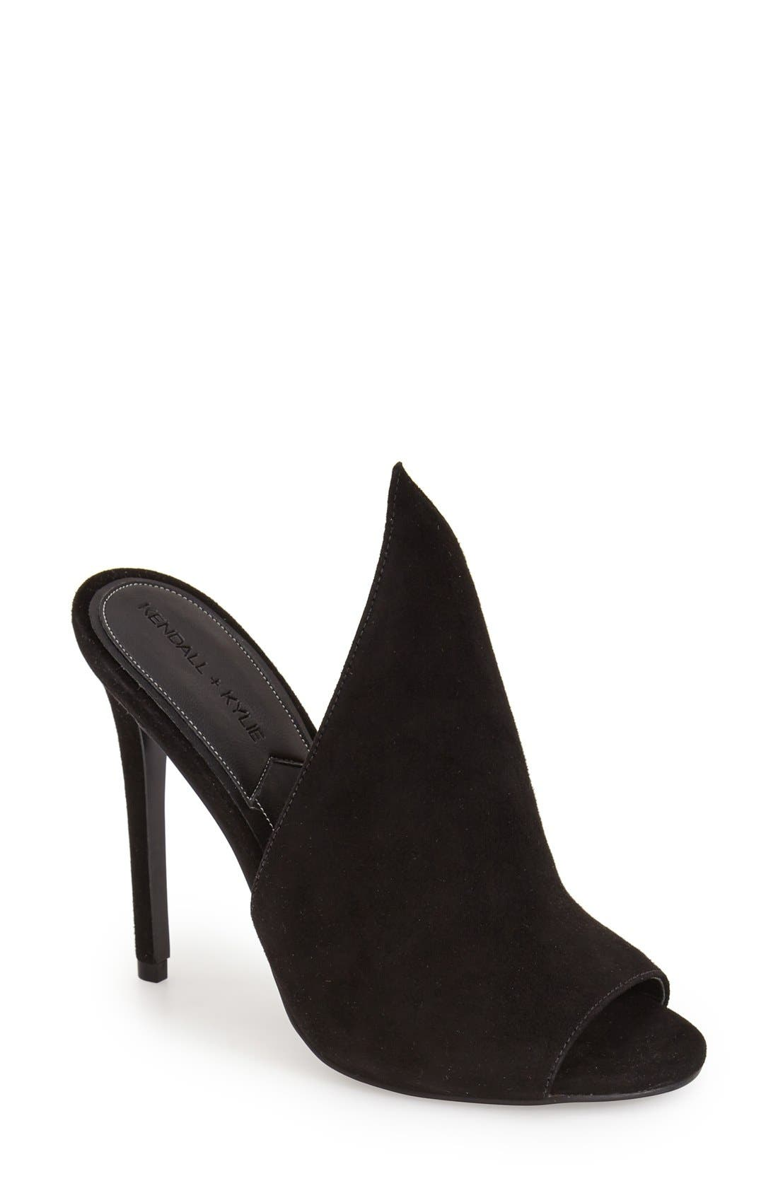'Essie' Mule,                         Main,                         color, Black Suede
