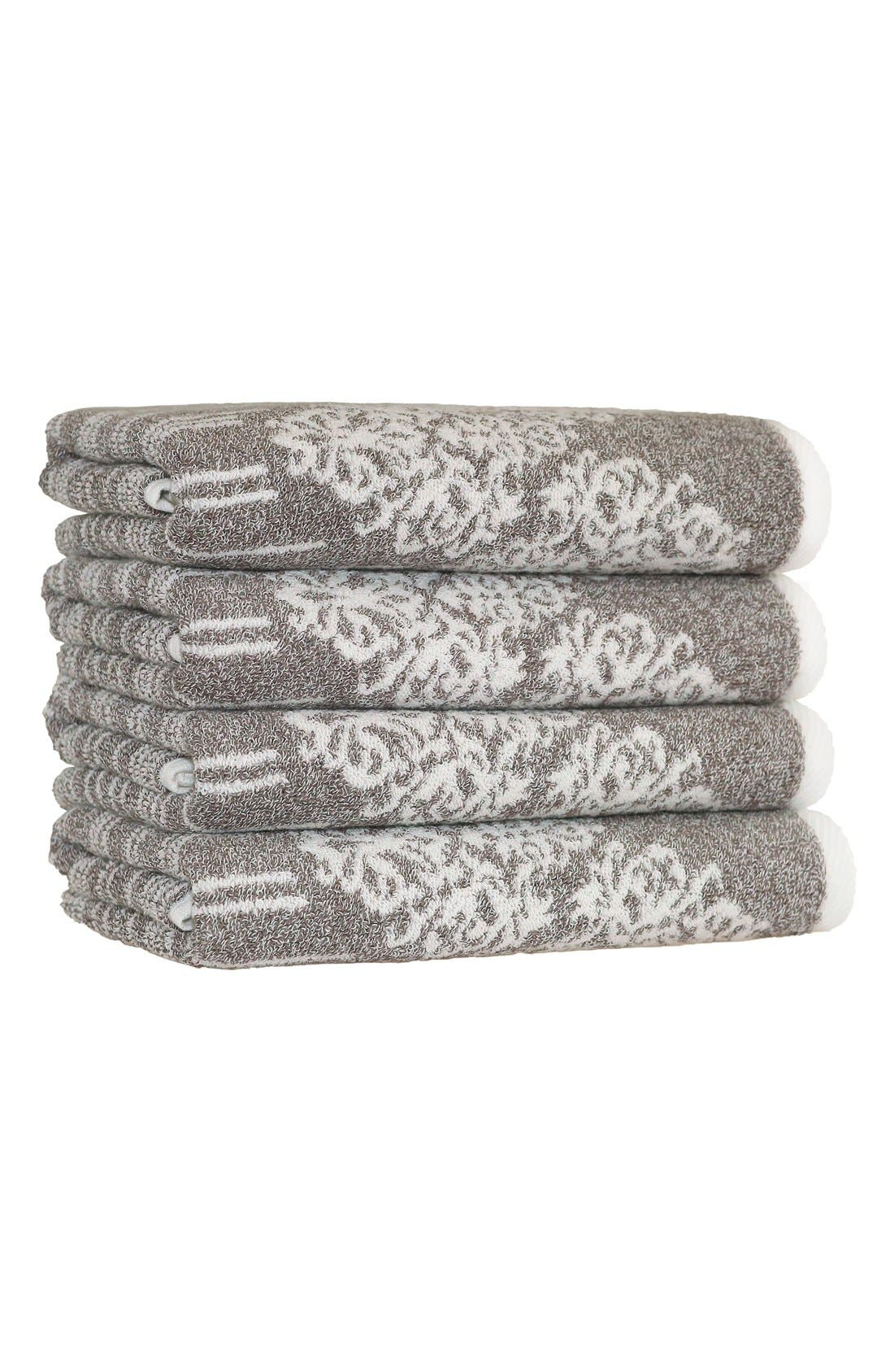 Linum 'Gioia' Turkish Cotton Hand Towels,                             Main thumbnail 1, color,                             Vintage Brown
