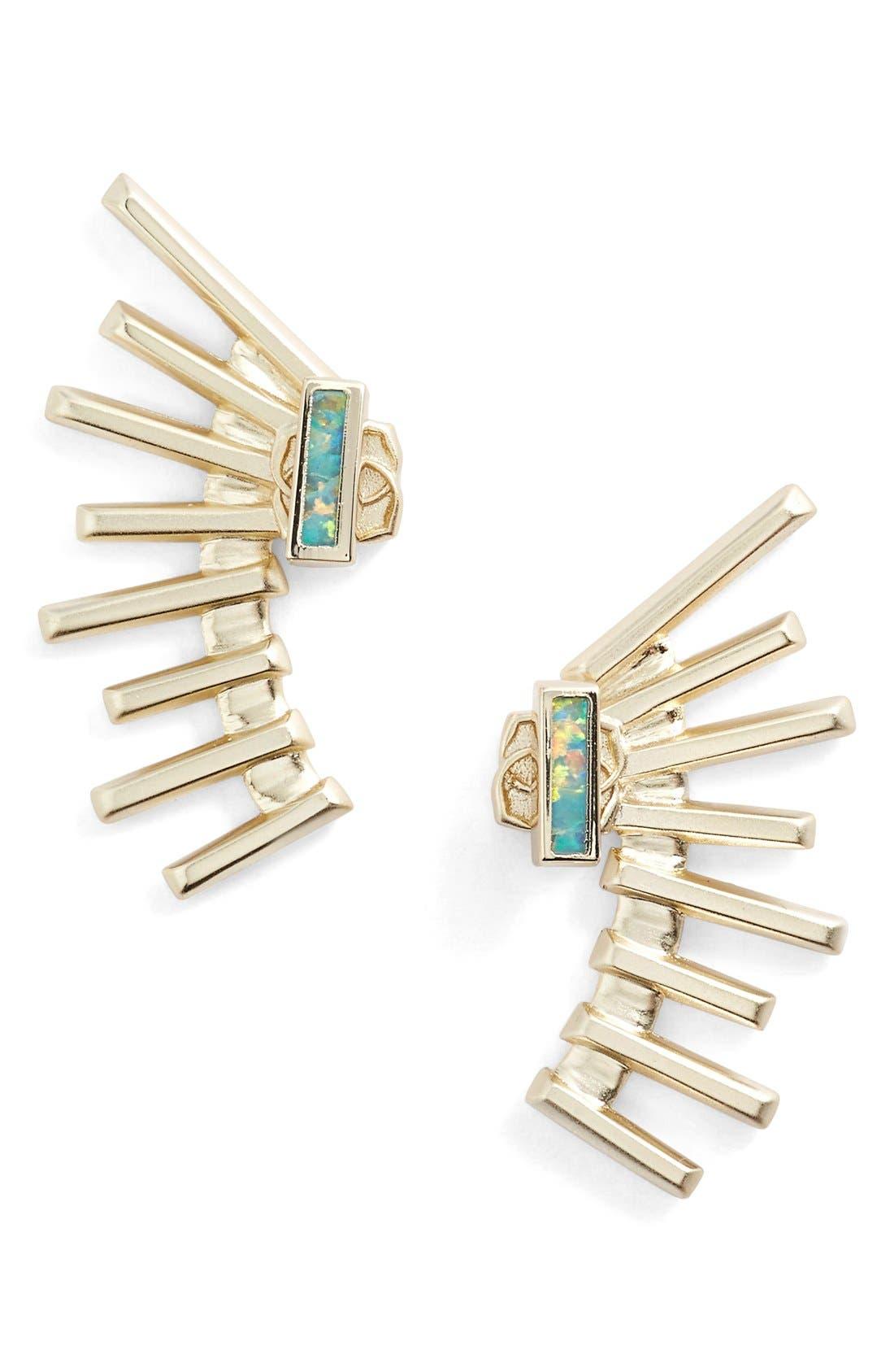 'Kellen' Ear Jackets,                             Main thumbnail 1, color,                             Gold/ Aqua Opal