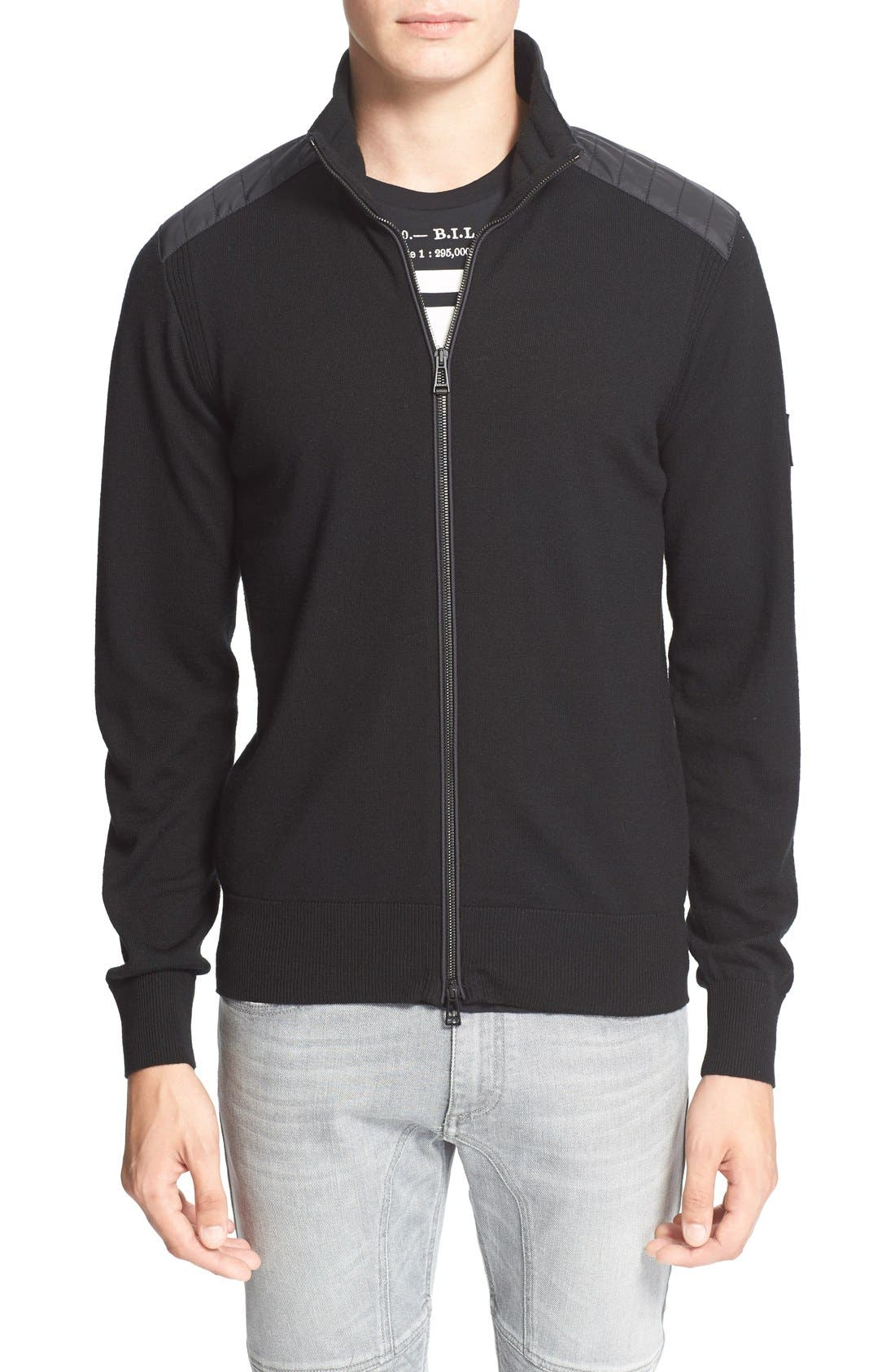 'Kelby' Full Zip Wool Sweater,                             Main thumbnail 1, color,                             Black