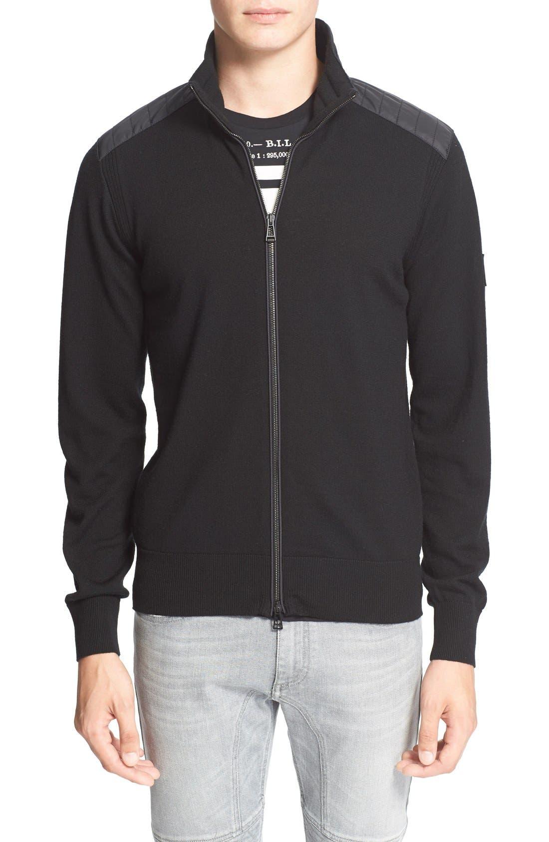 'Kelby' Full Zip Wool Sweater,                         Main,                         color, Black