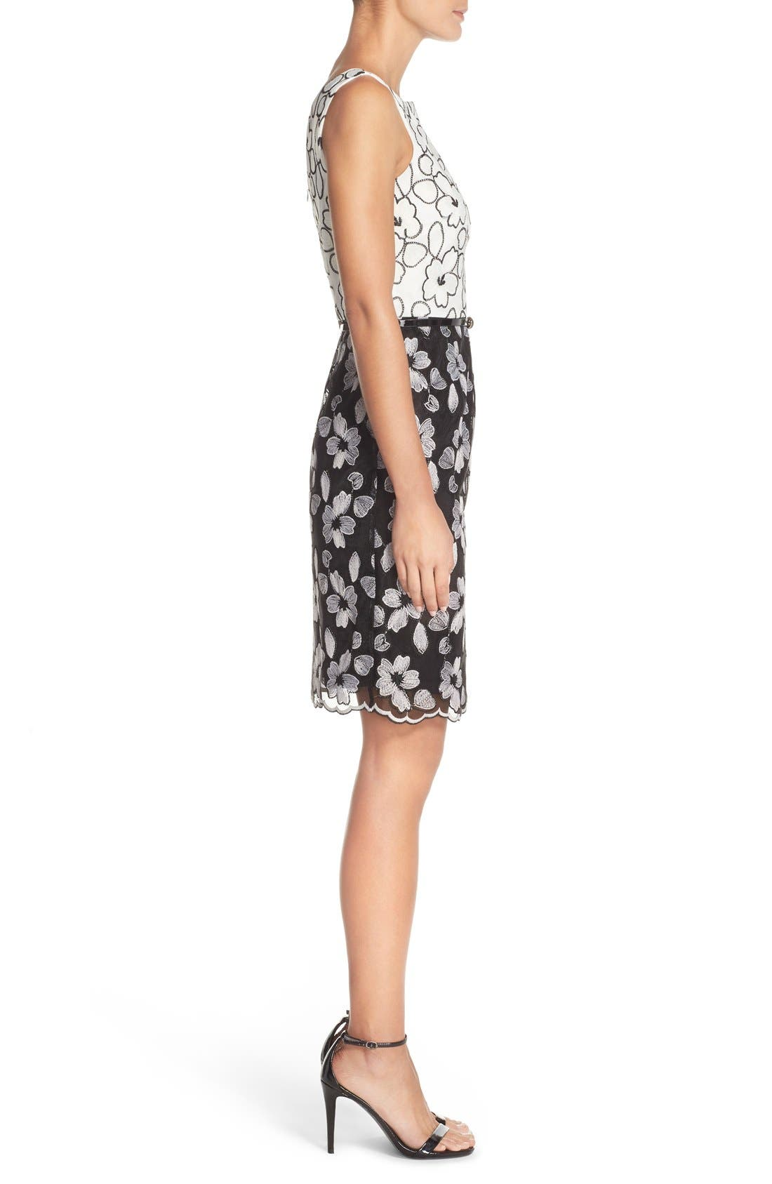 Alternate Image 3  - Ellen Tracy Floral Lace Sheath Dress With Belt