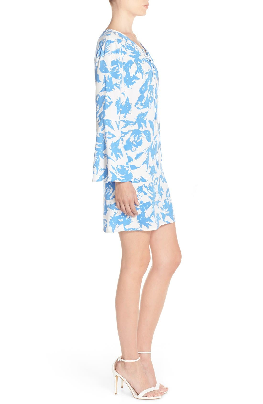 Tie Neck Woven Shift Dress,                             Alternate thumbnail 3, color,                             Blue Flower