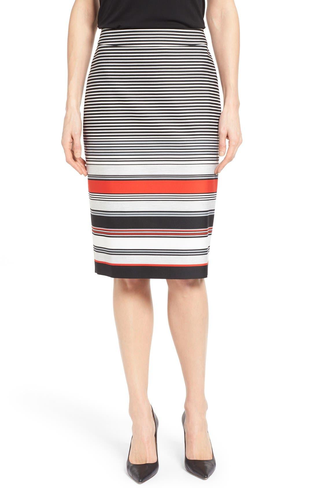Alternate Image 1 Selected - Classiques Entier® 'Gallery Stripe' Pencil Skirt (Regular & Petite)