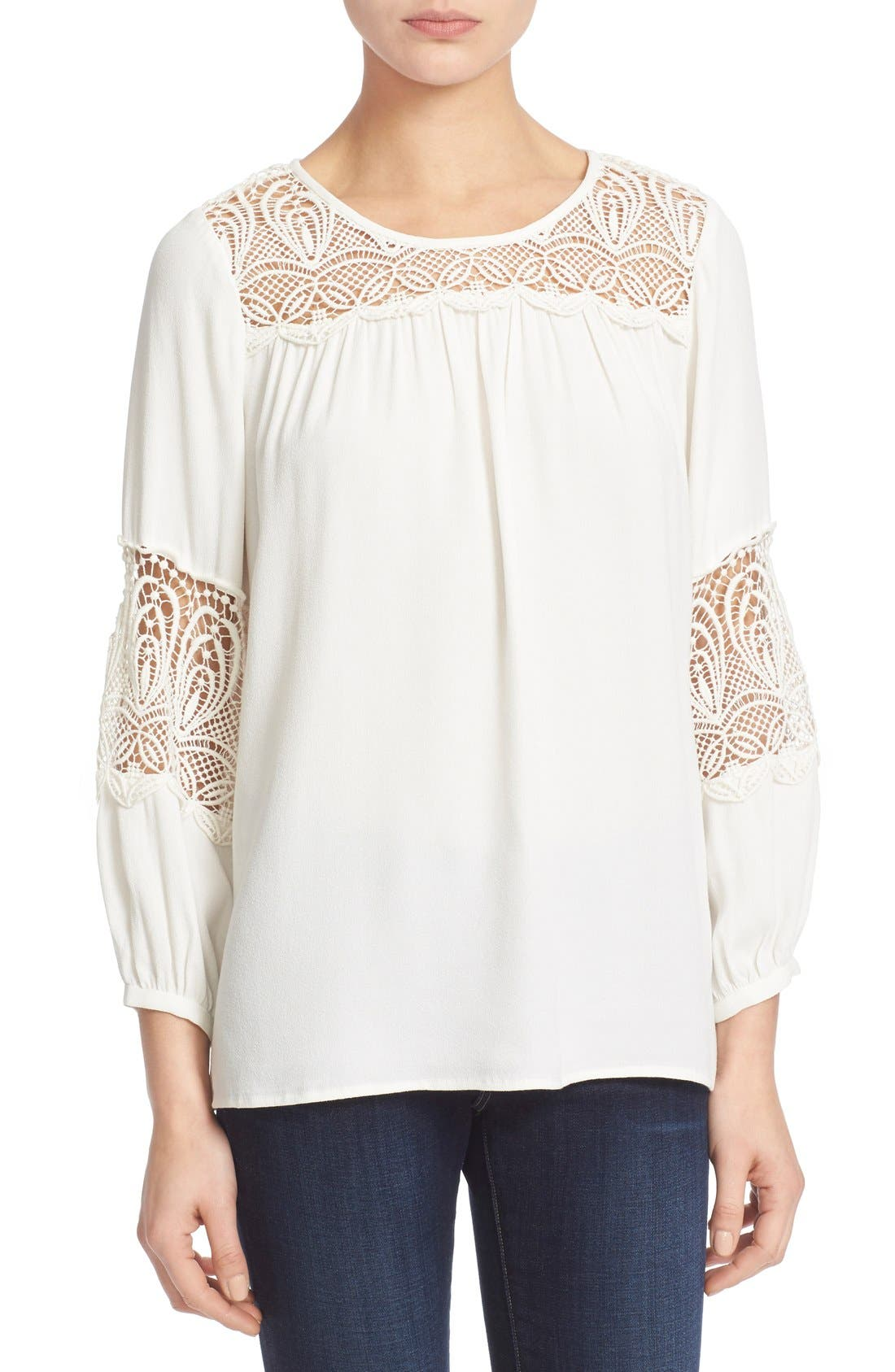 Alternate Image 1 Selected - Joie 'Coastal' Lace Inset Blouse