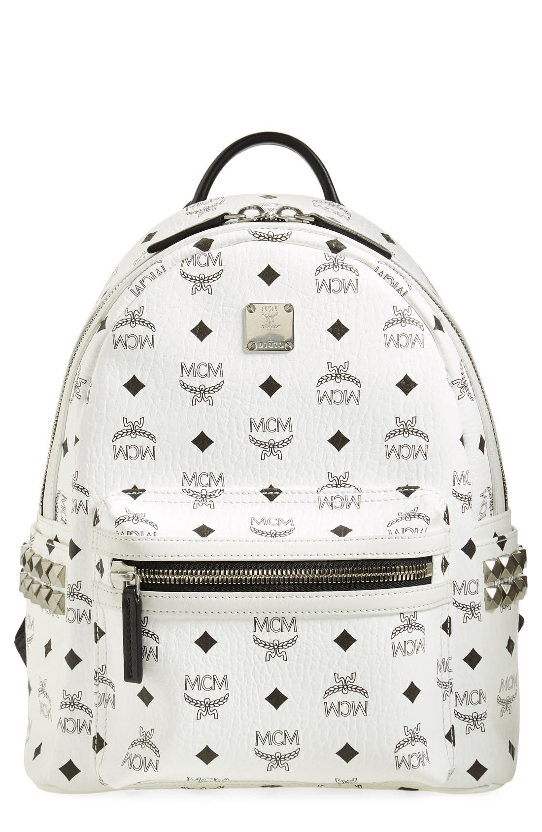 Small Stark Side Stud Backpack,                         Main,                         color, White