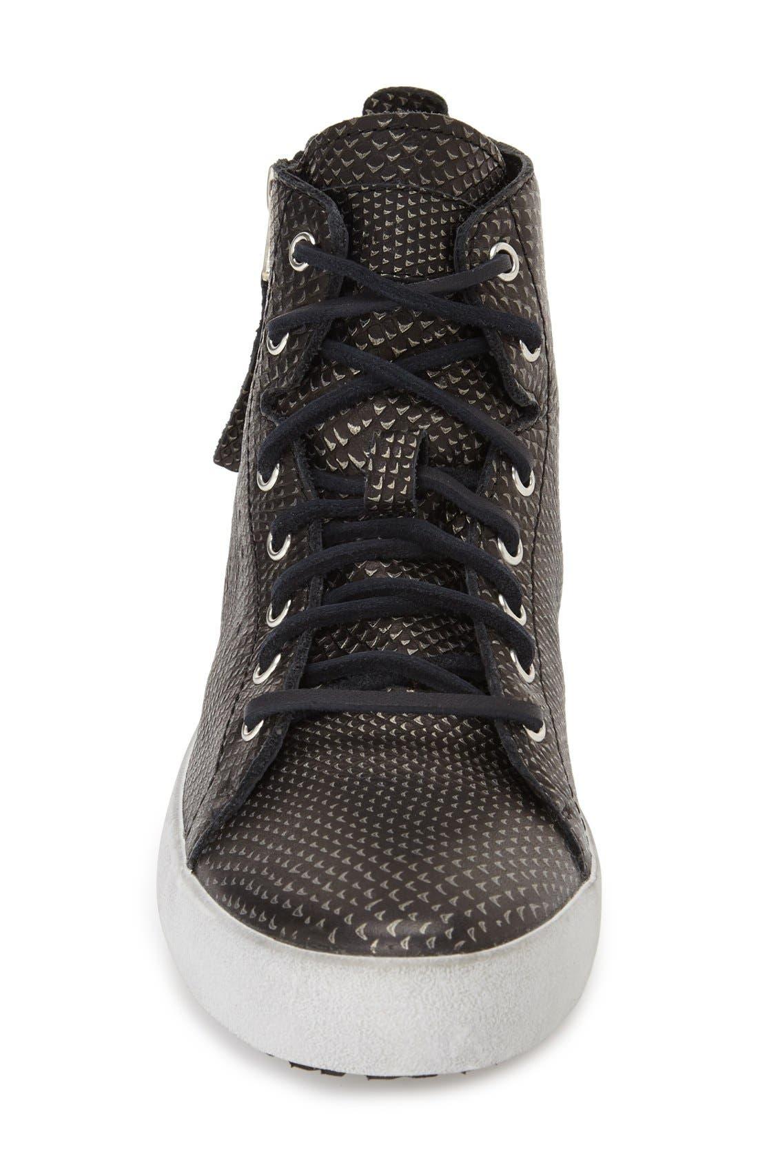'KL57' High Top Sneaker,                             Alternate thumbnail 3, color,                             Black Metallic Leather
